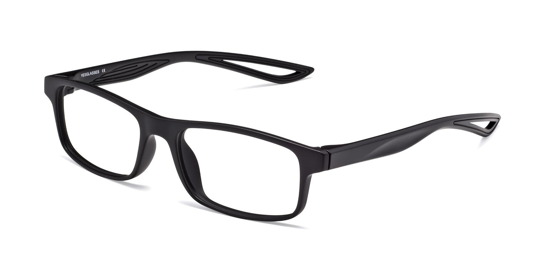Angle of Bill in Matte Black with Clear Eyeglass Lenses