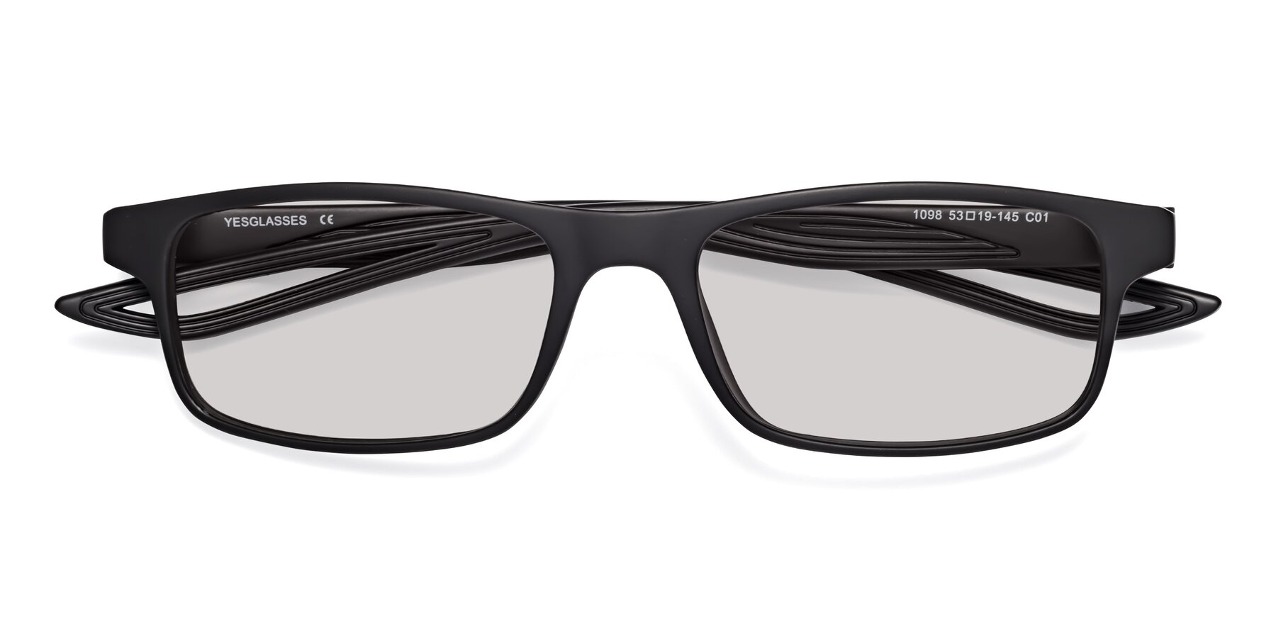 Folded Front of Bill in Matte Black with Light Gray Tinted Lenses