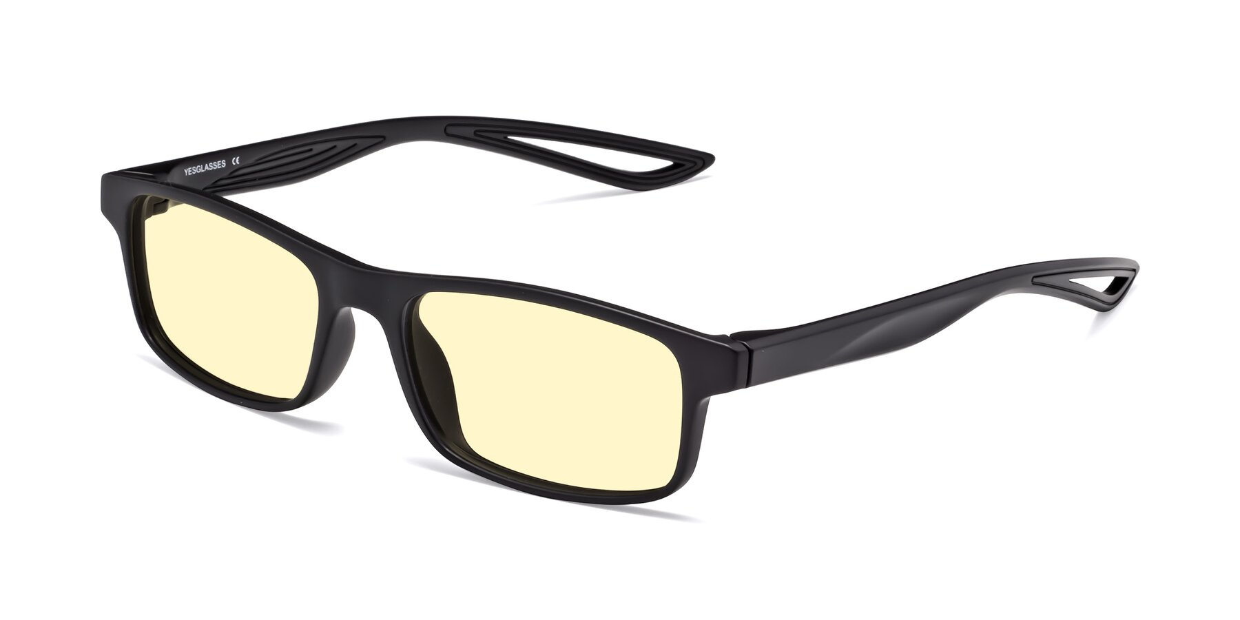 Angle of Bill in Matte Black with Light Yellow Tinted Lenses