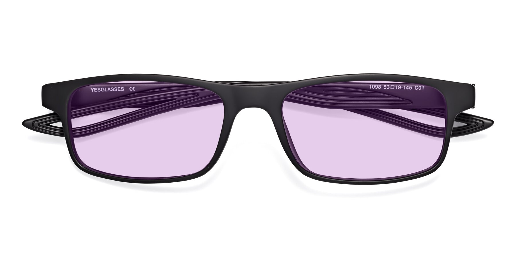 Folded Front of Bill in Matte Black with Light Purple Tinted Lenses