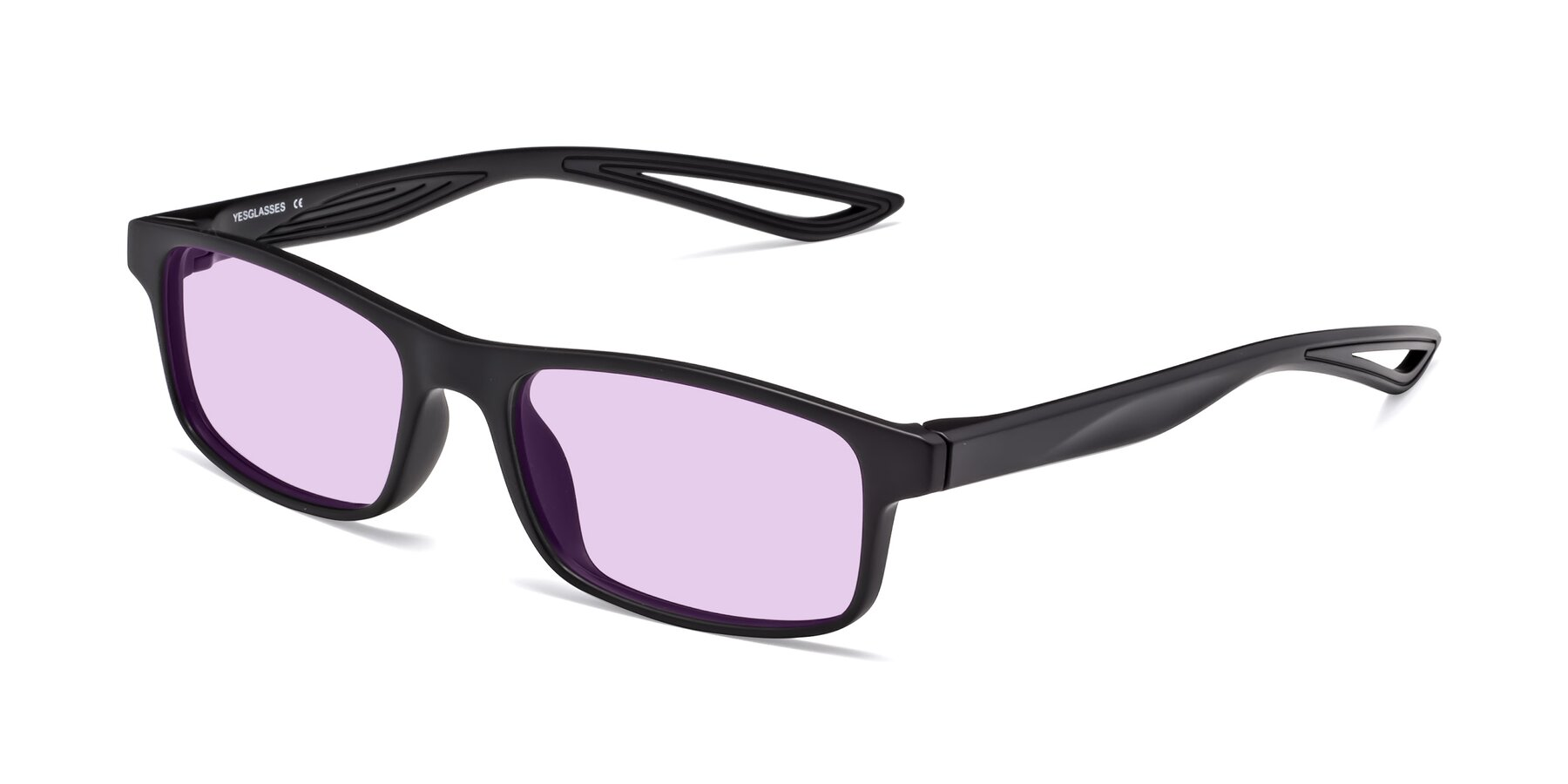 Angle of Bill in Matte Black with Light Purple Tinted Lenses