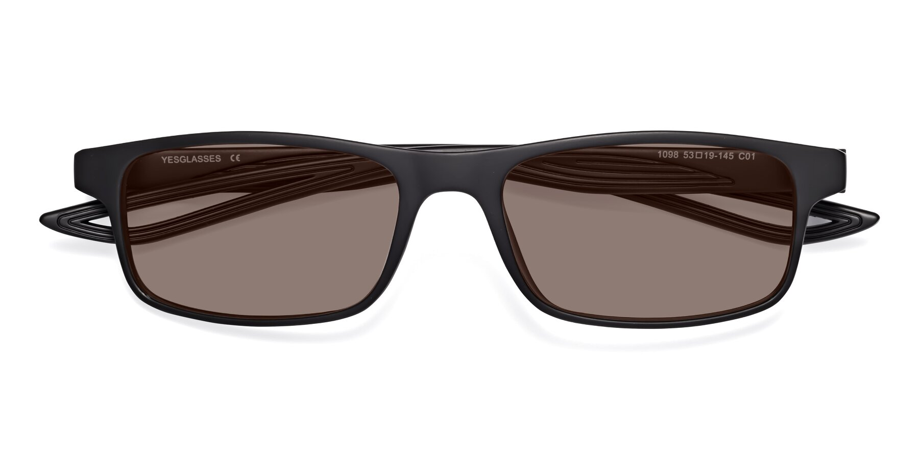Folded Front of Bill in Matte Black with Medium Brown Tinted Lenses