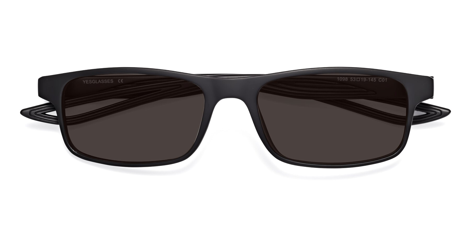 Folded Front of Bill in Matte Black with Gray Tinted Lenses