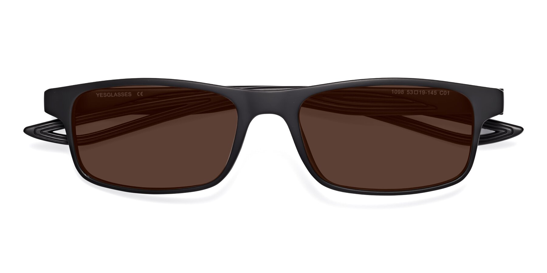 Folded Front of Bill in Matte Black with Brown Tinted Lenses