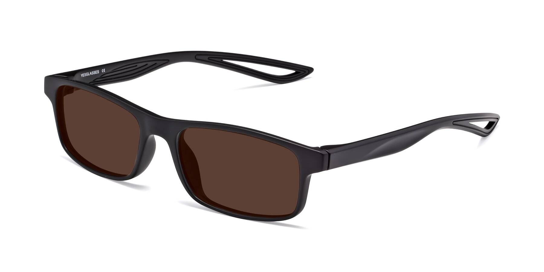 Angle of Bill in Matte Black with Brown Tinted Lenses