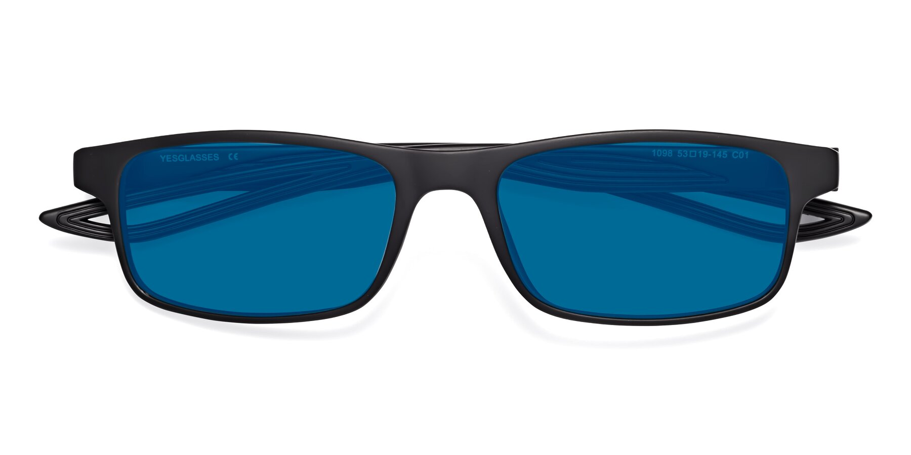 Folded Front of Bill in Matte Black with Blue Tinted Lenses