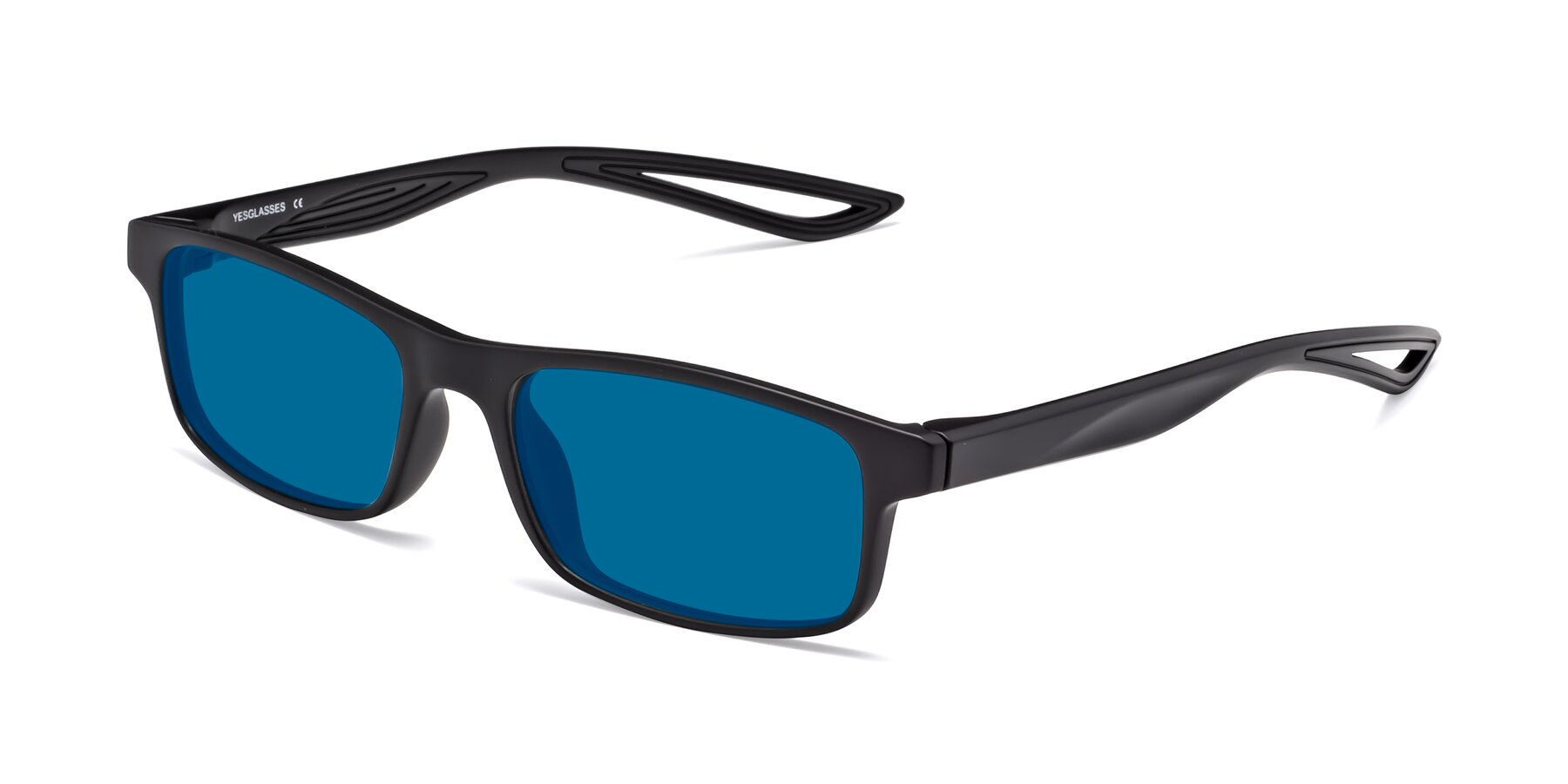 Angle of Bill in Matte Black with Blue Tinted Lenses