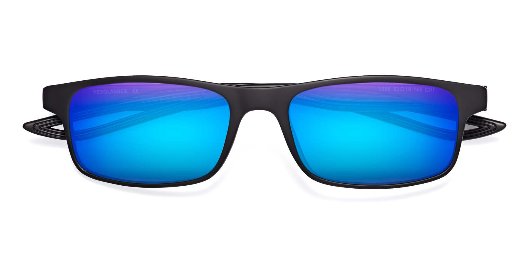 Folded Front of Bill in Matte Black with Blue Mirrored Lenses