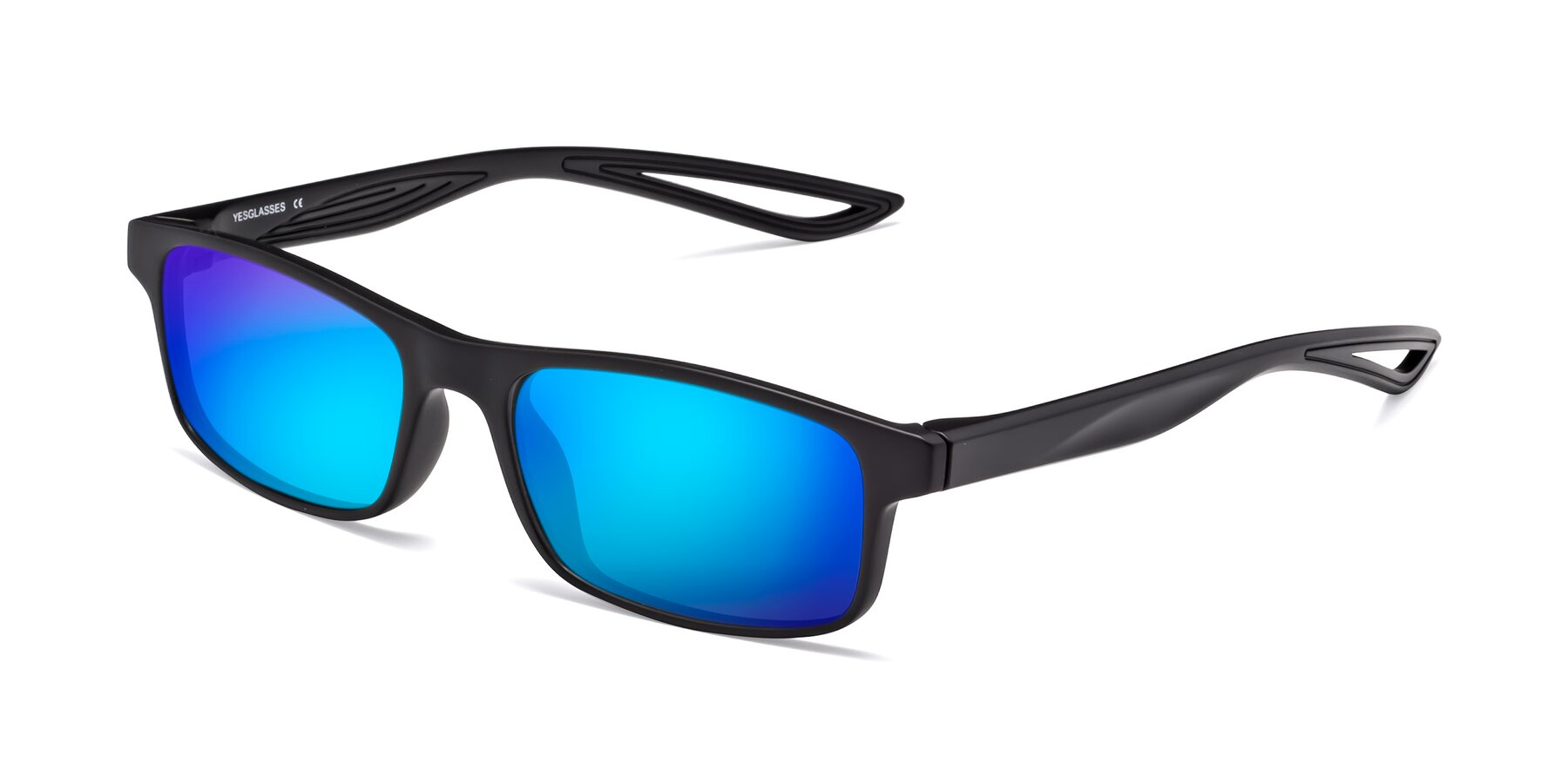 Angle of Bill in Matte Black with Blue Mirrored Lenses