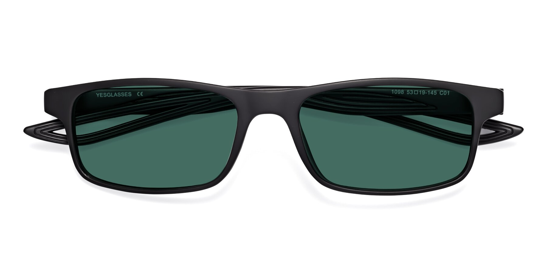 Folded Front of Bill in Matte Black with Green Polarized Lenses