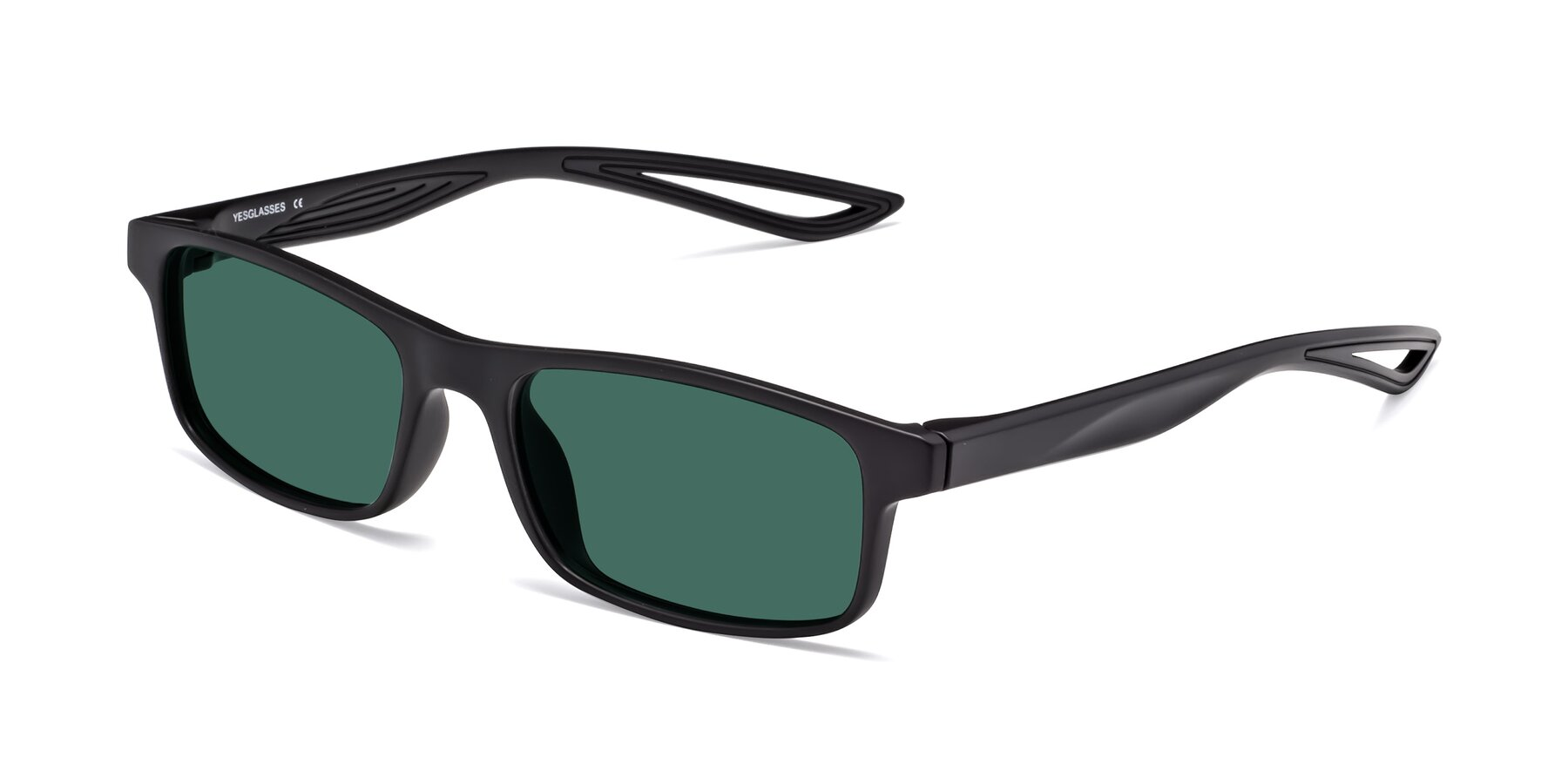 Angle of Bill in Matte Black with Green Polarized Lenses