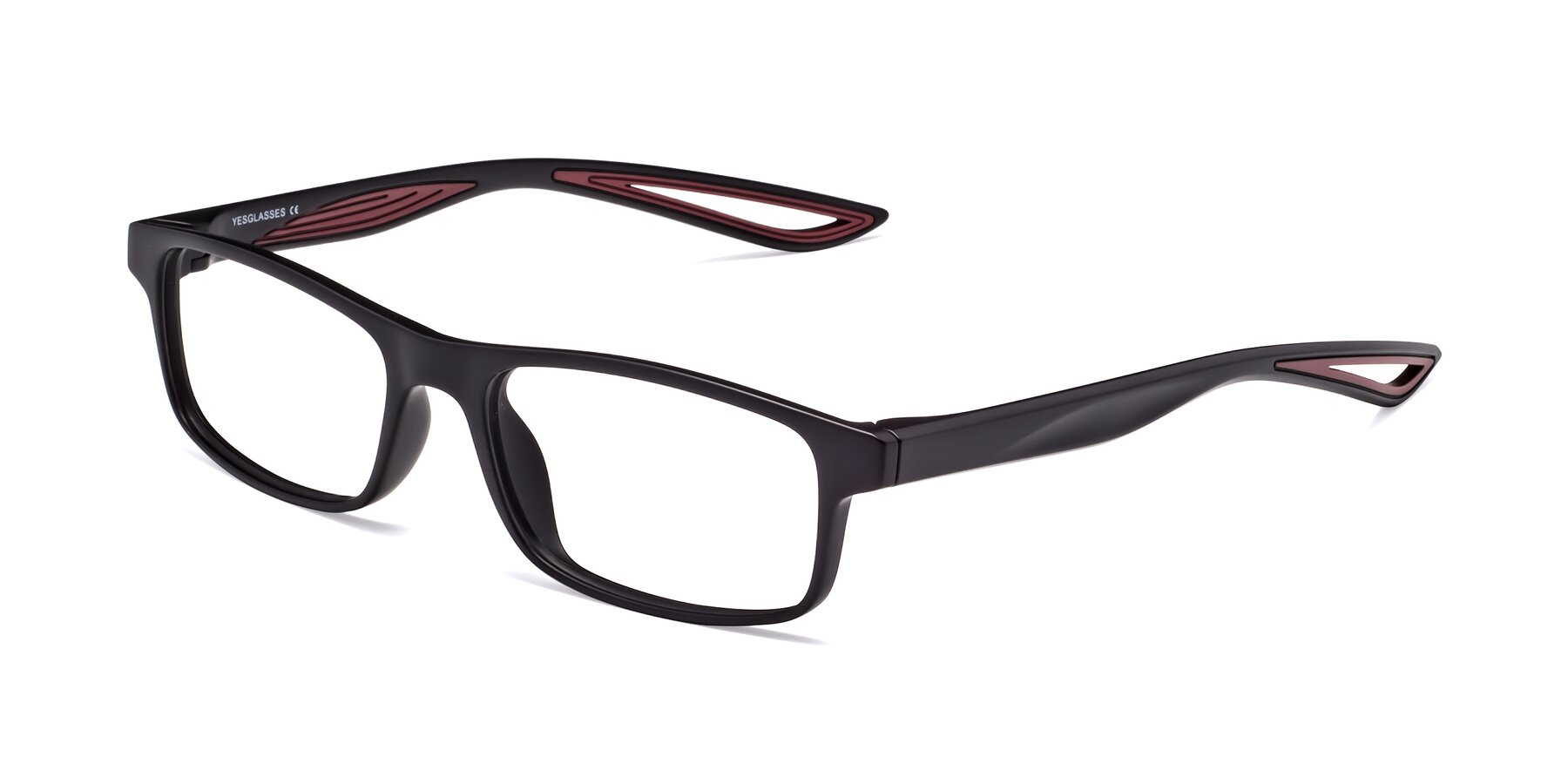 Angle of Bill in Matte Black-Wine with Clear Blue Light Blocking Lenses