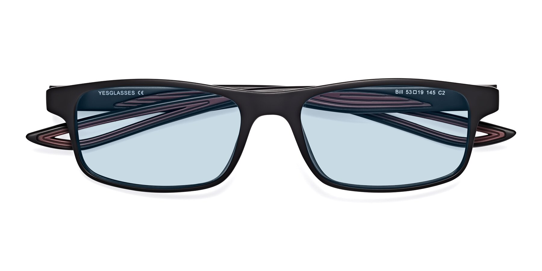 Folded Front of Bill in Matte Black-Wine with Light Blue Tinted Lenses