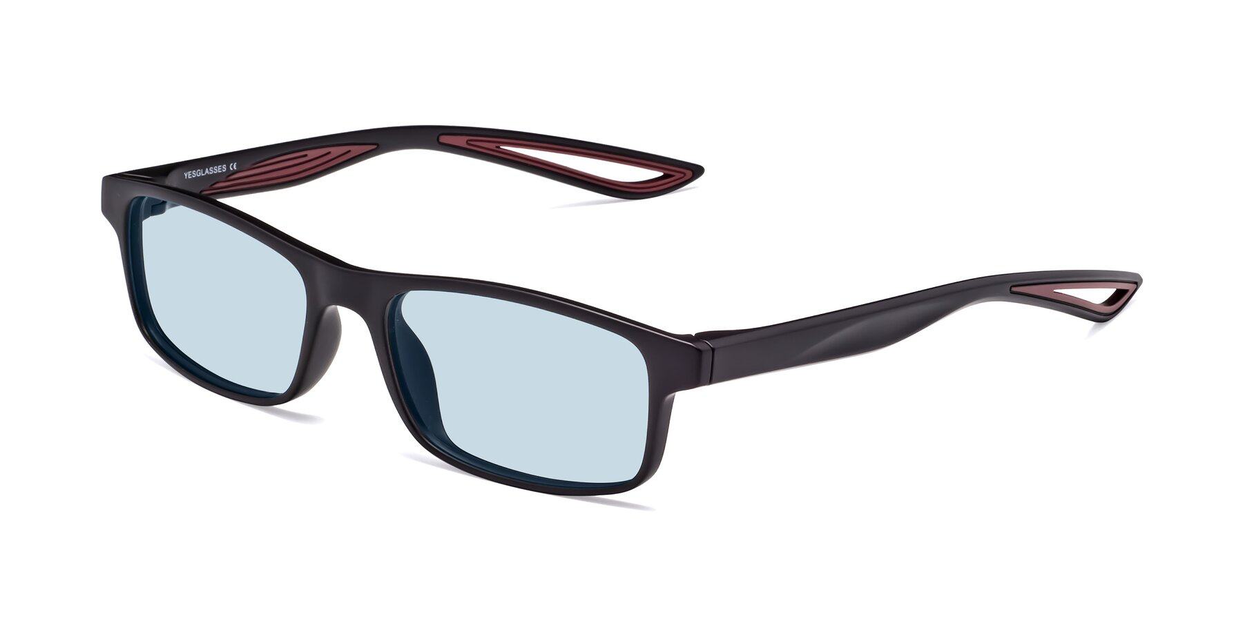 Angle of Bill in Matte Black-Wine with Light Blue Tinted Lenses