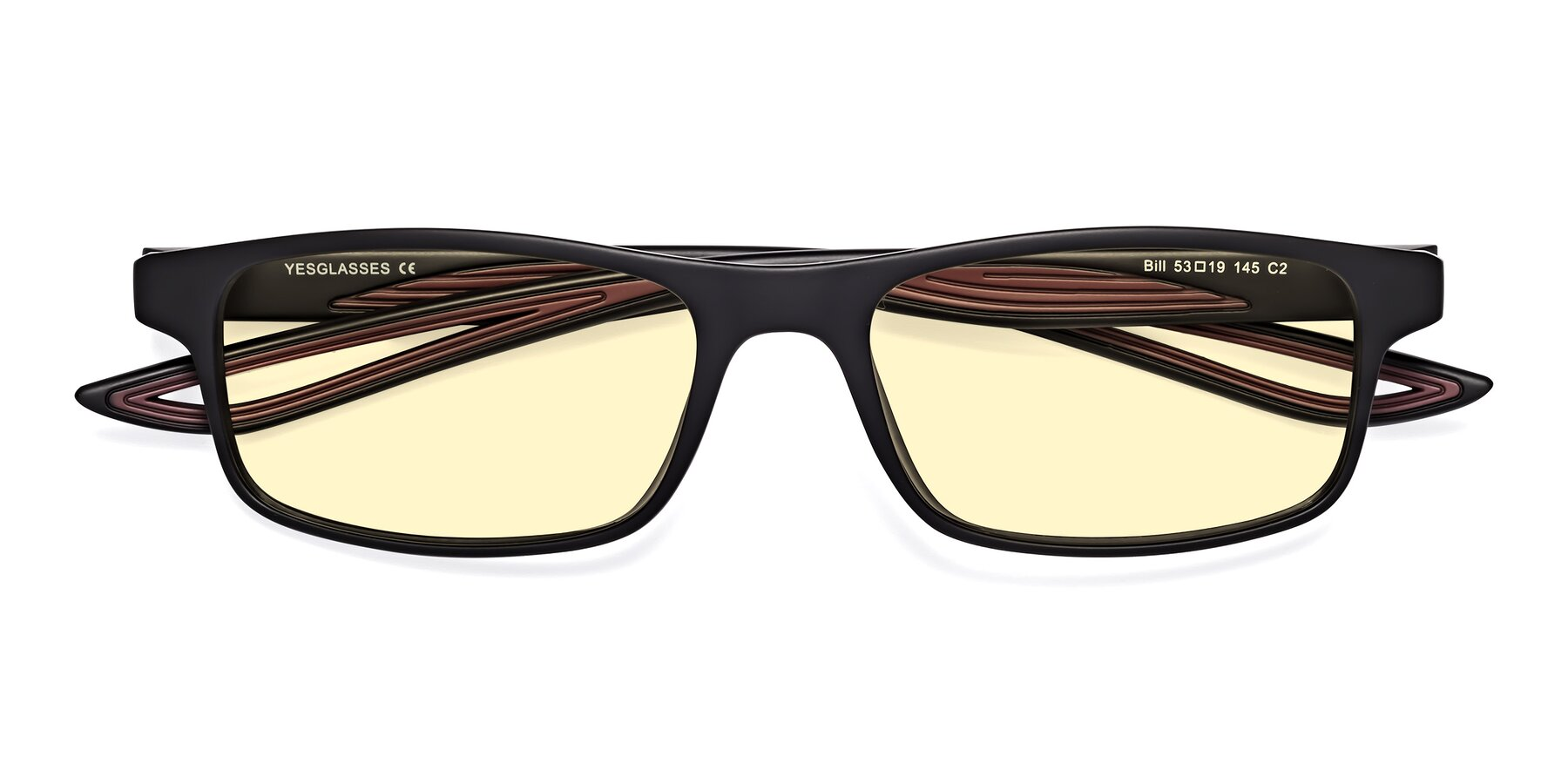 Folded Front of Bill in Matte Black-Wine with Light Yellow Tinted Lenses