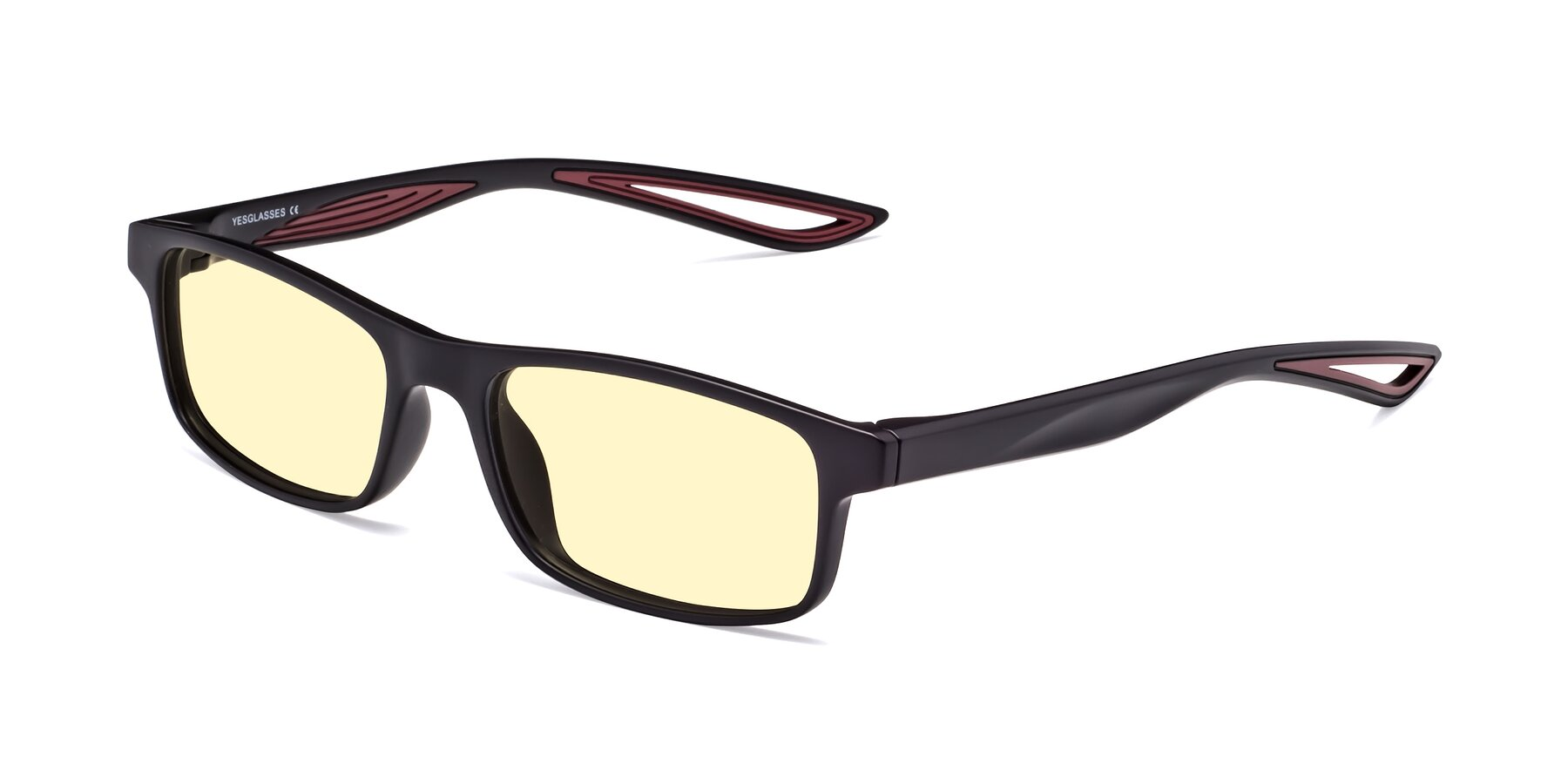 Angle of Bill in Matte Black-Wine with Light Yellow Tinted Lenses