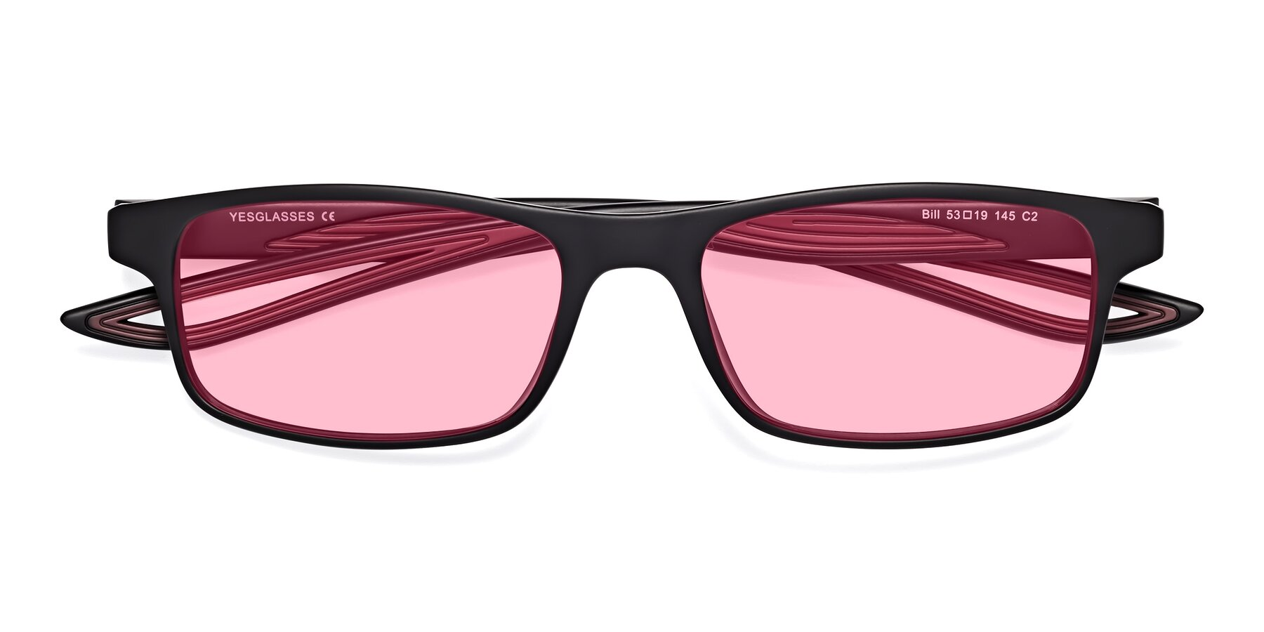 Folded Front of Bill in Matte Black-Wine with Medium Pink Tinted Lenses