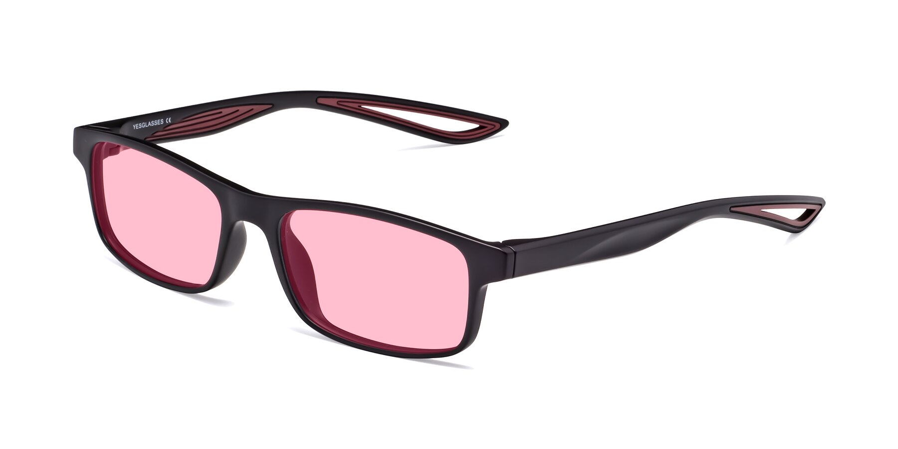 Angle of Bill in Matte Black-Wine with Medium Pink Tinted Lenses