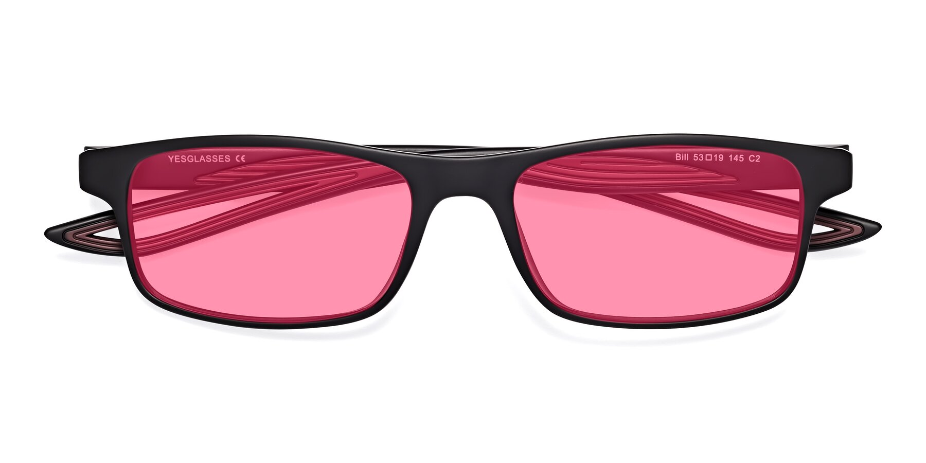 Folded Front of Bill in Matte Black-Wine with Pink Tinted Lenses