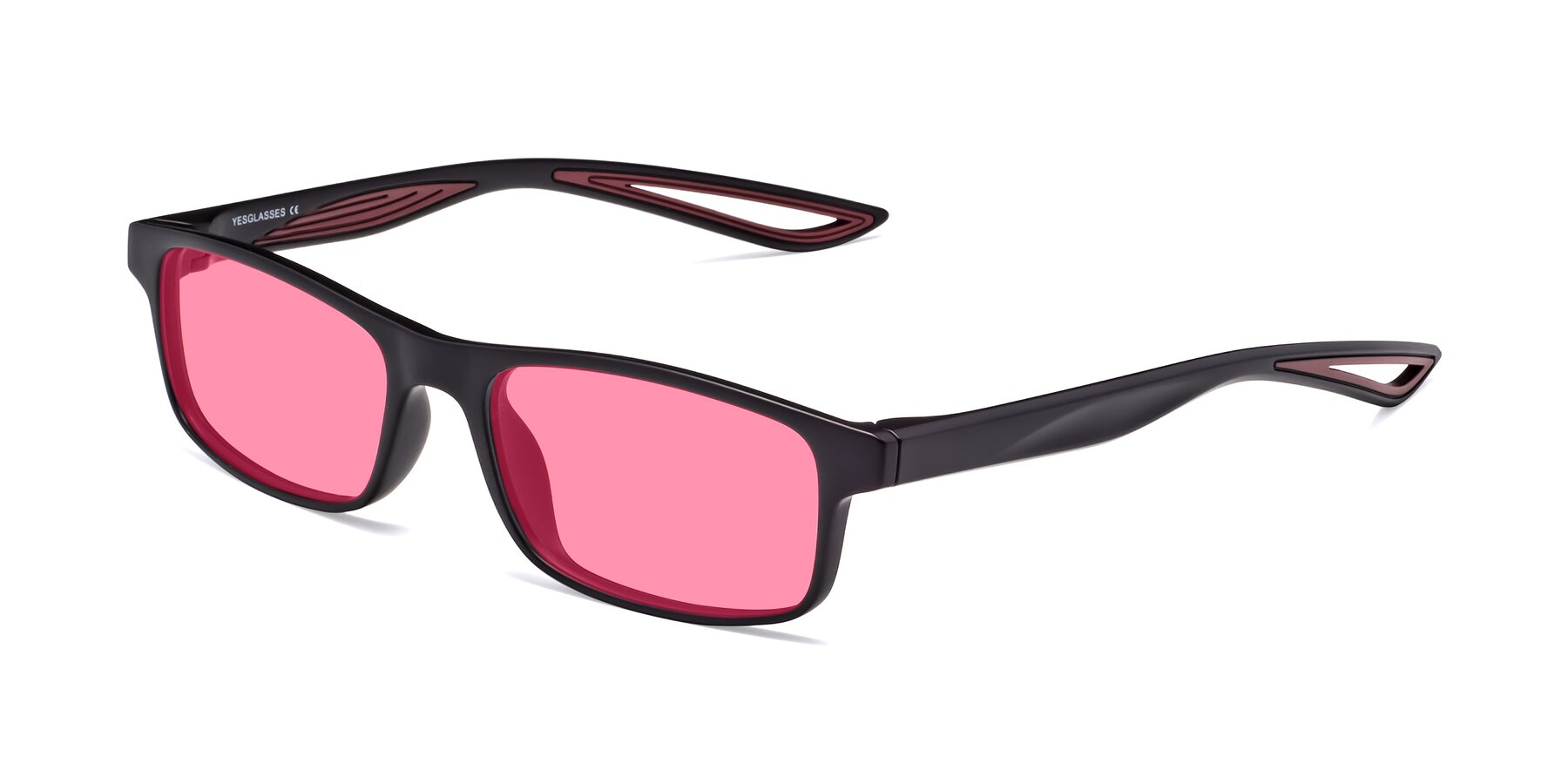 Angle of Bill in Matte Black-Wine with Pink Tinted Lenses