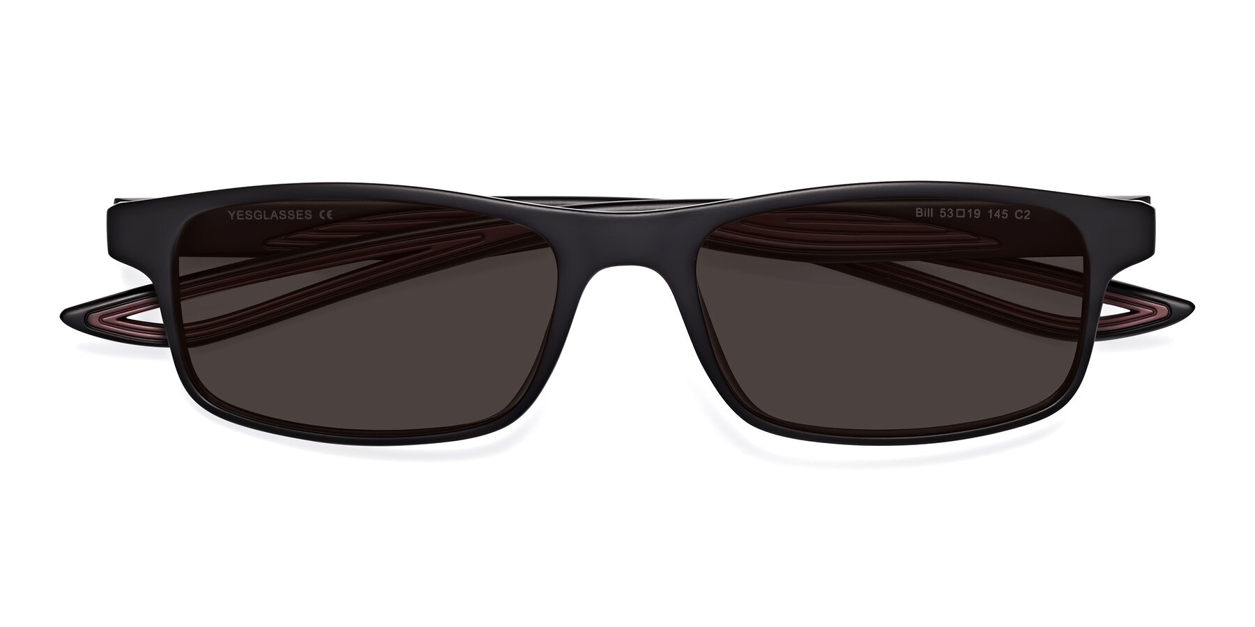 Folded Front of Bill in Matte Black-Wine with Gray Tinted Lenses