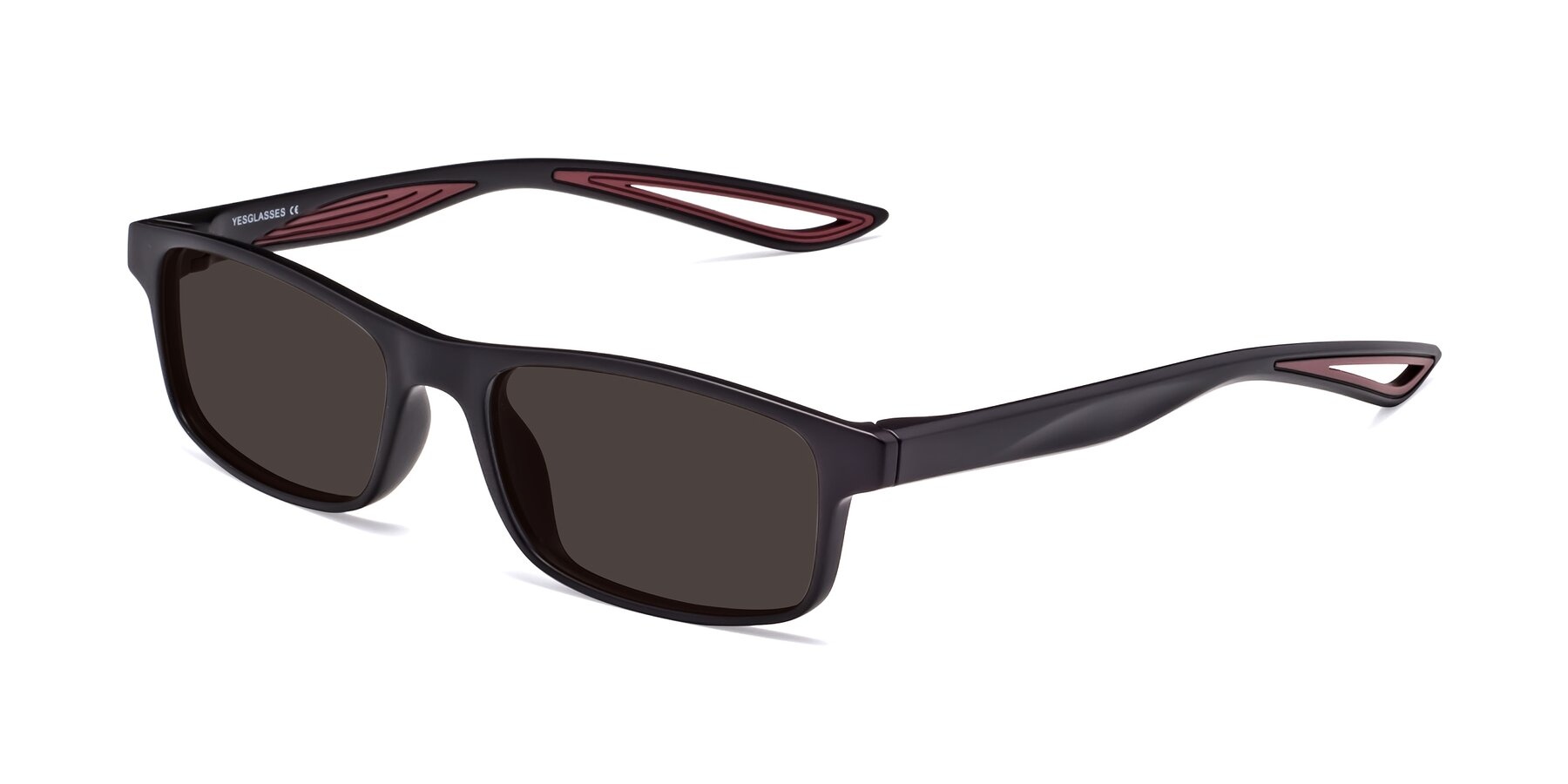 Angle of Bill in Matte Black-Wine with Gray Tinted Lenses