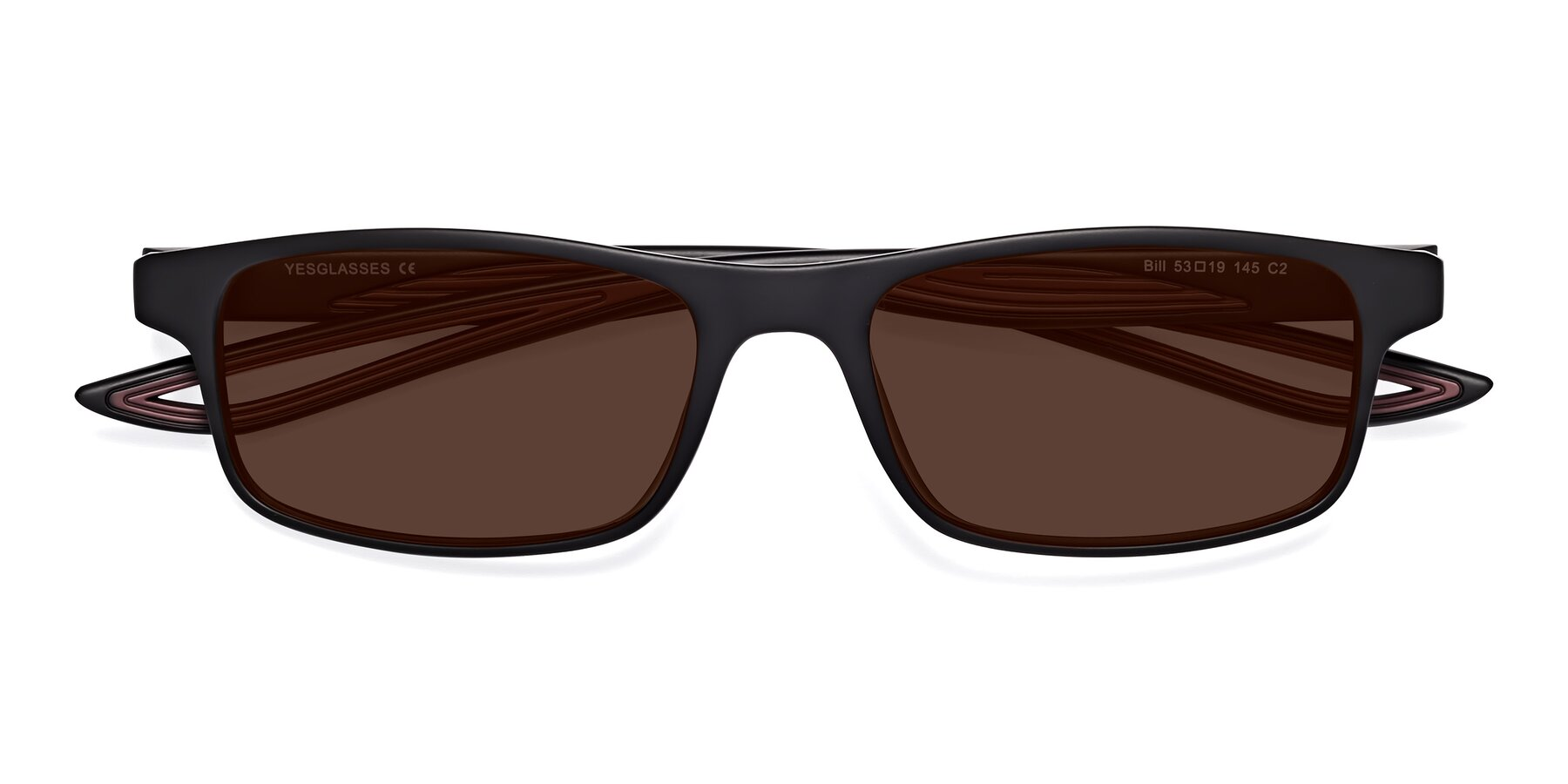 Folded Front of Bill in Matte Black-Wine with Brown Tinted Lenses