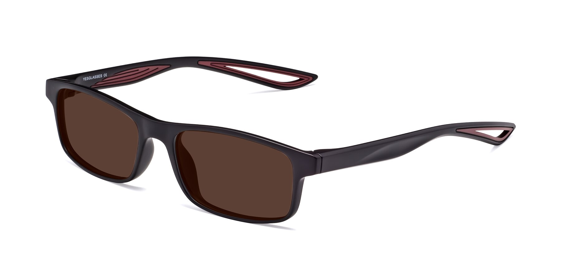 Angle of Bill in Matte Black-Wine with Brown Tinted Lenses