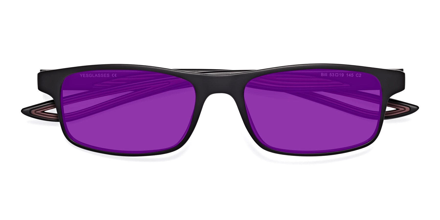 Folded Front of Bill in Matte Black-Wine with Purple Tinted Lenses