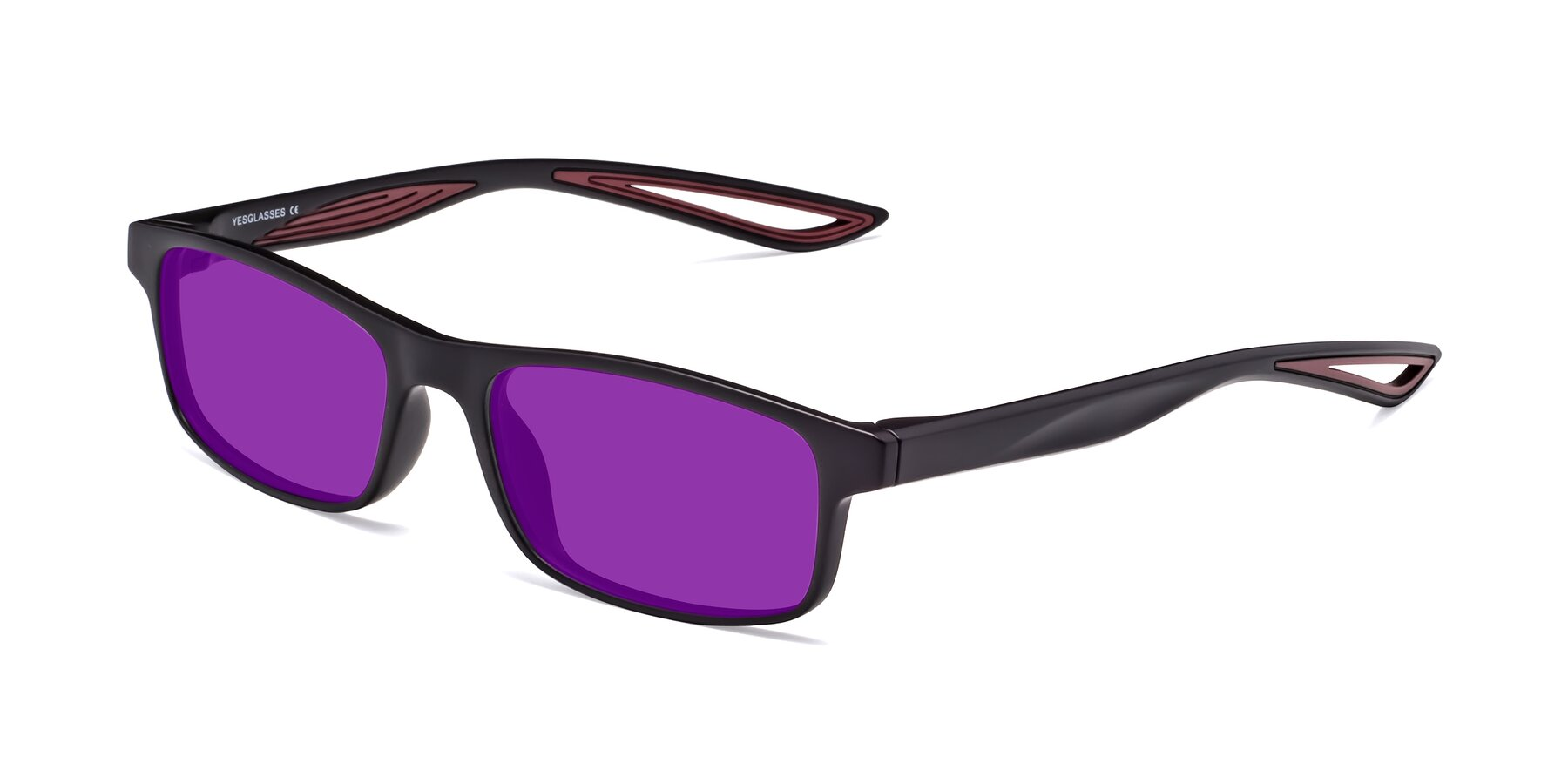 Angle of Bill in Matte Black-Wine with Purple Tinted Lenses