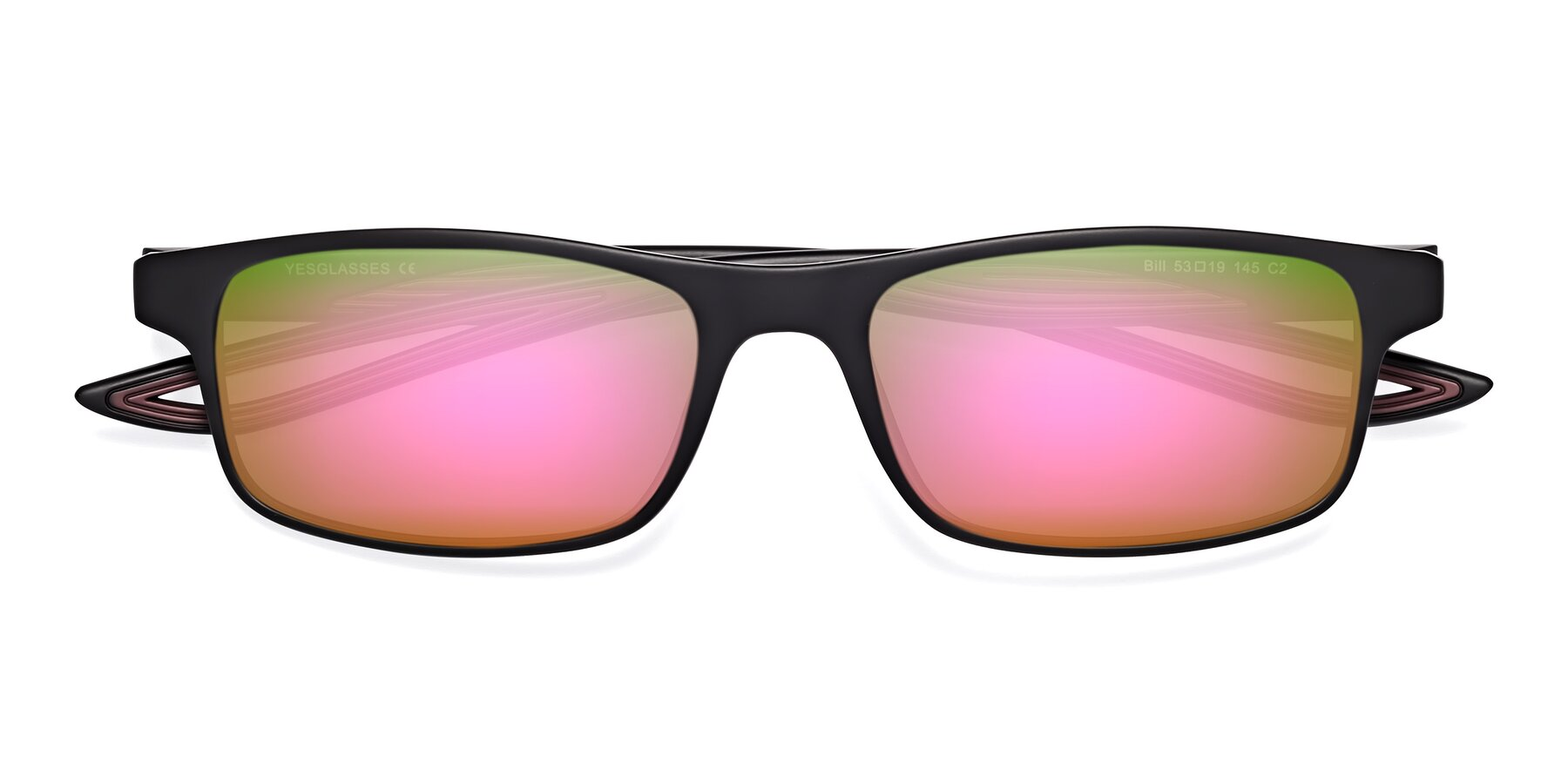 Folded Front of Bill in Matte Black-Wine with Pink Mirrored Lenses