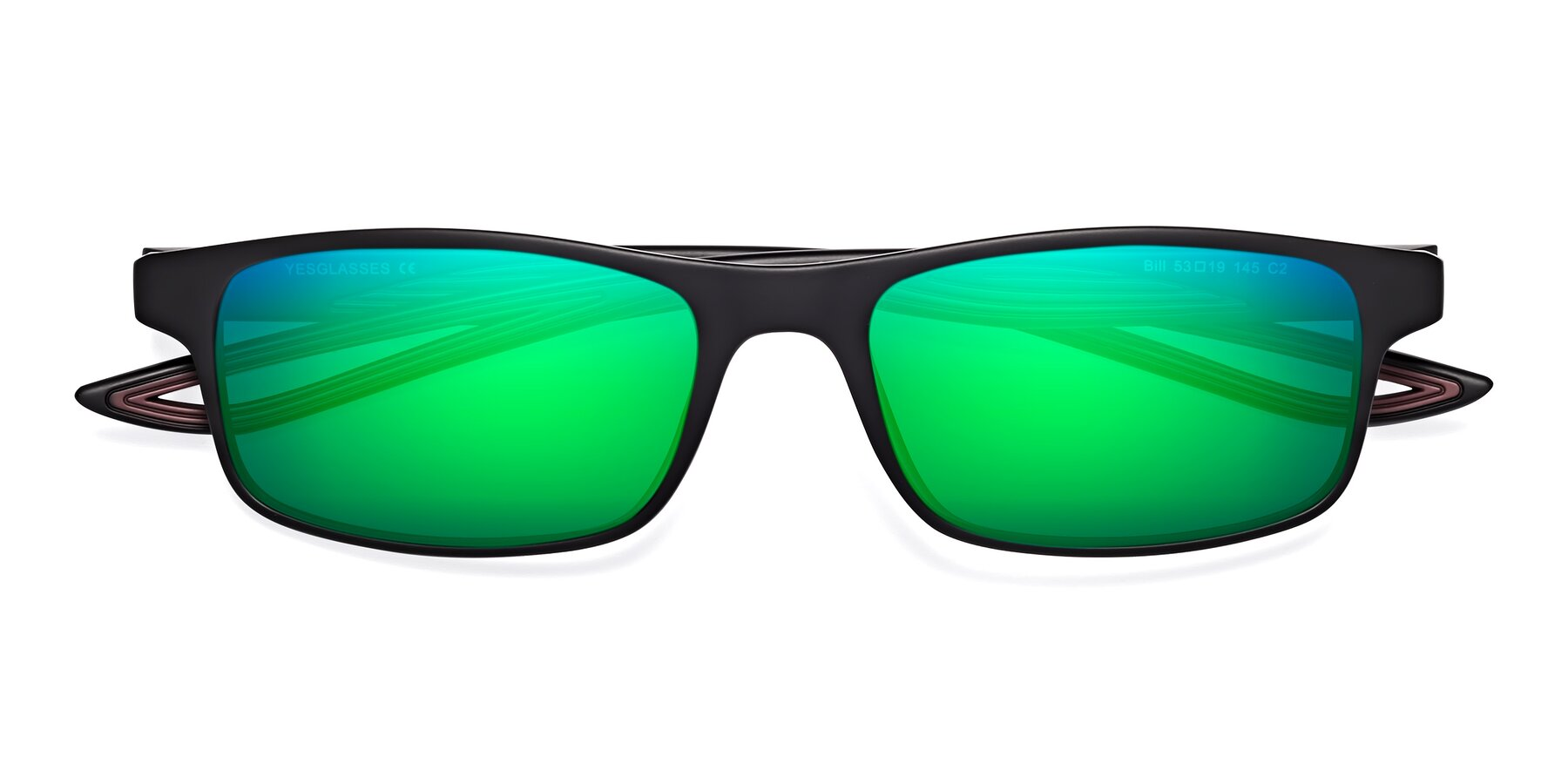 Folded Front of Bill in Matte Black-Wine with Green Mirrored Lenses