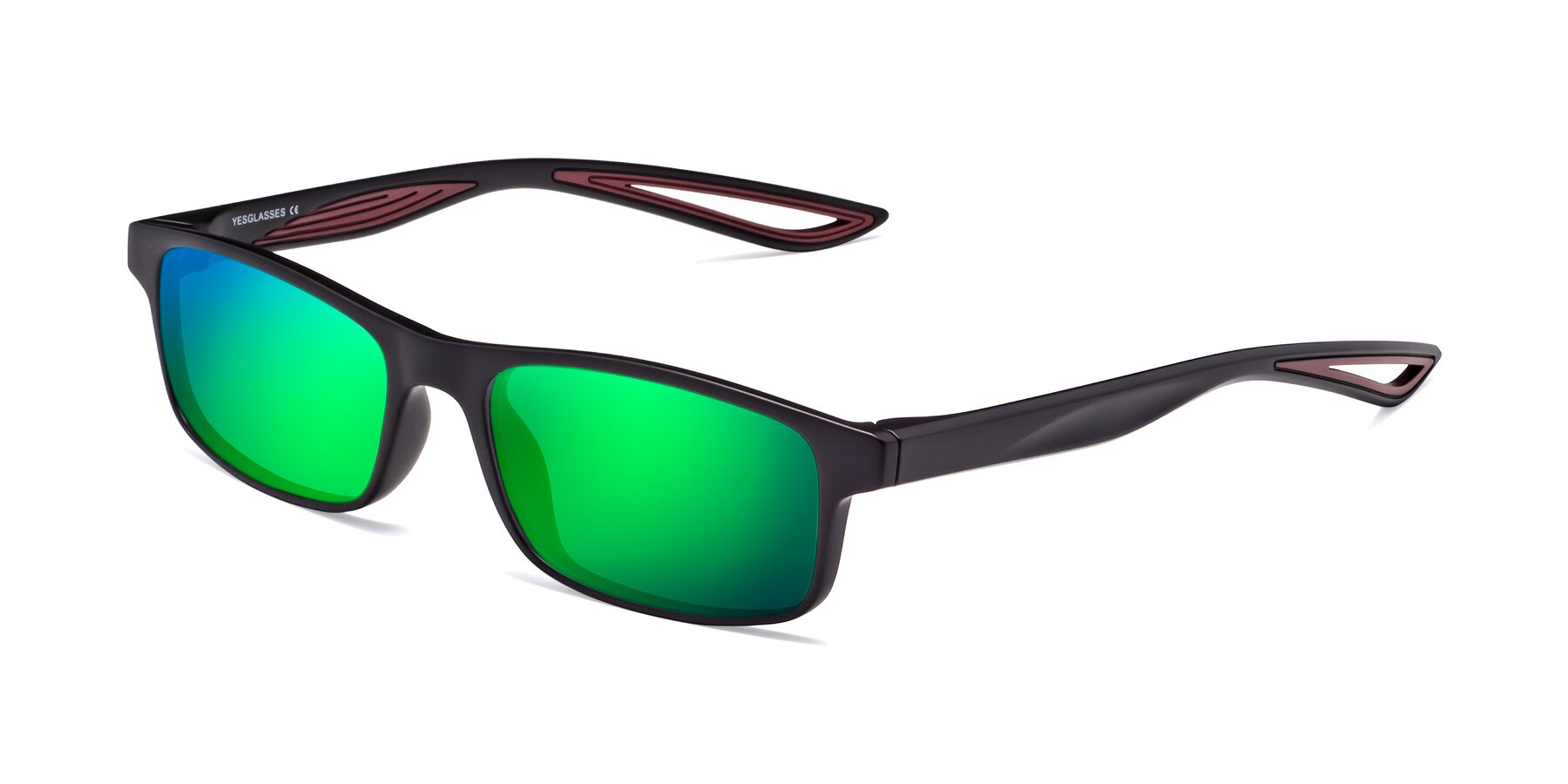 Angle of Bill in Matte Black-Wine with Green Mirrored Lenses