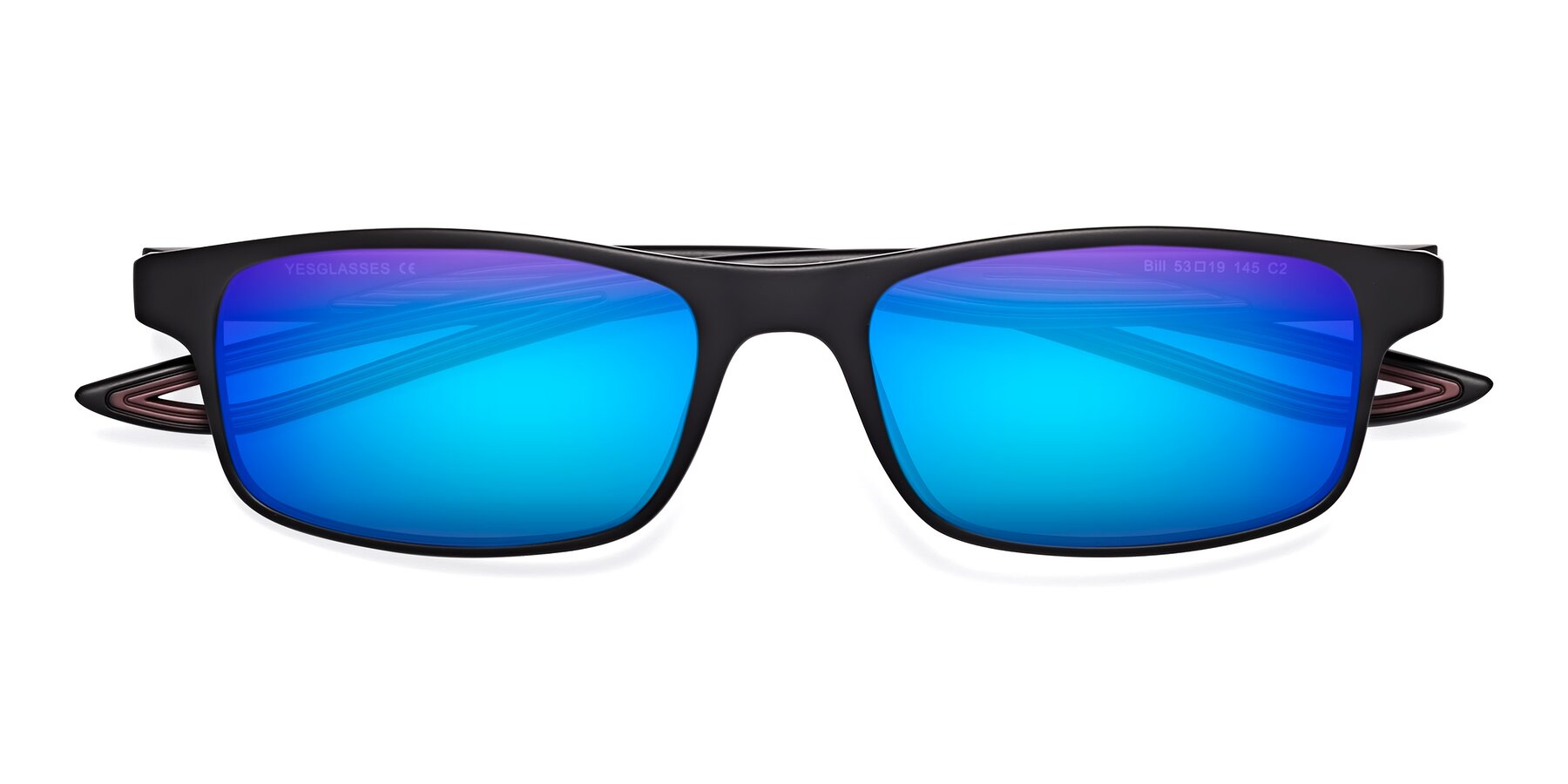 Folded Front of Bill in Matte Black-Wine with Blue Mirrored Lenses