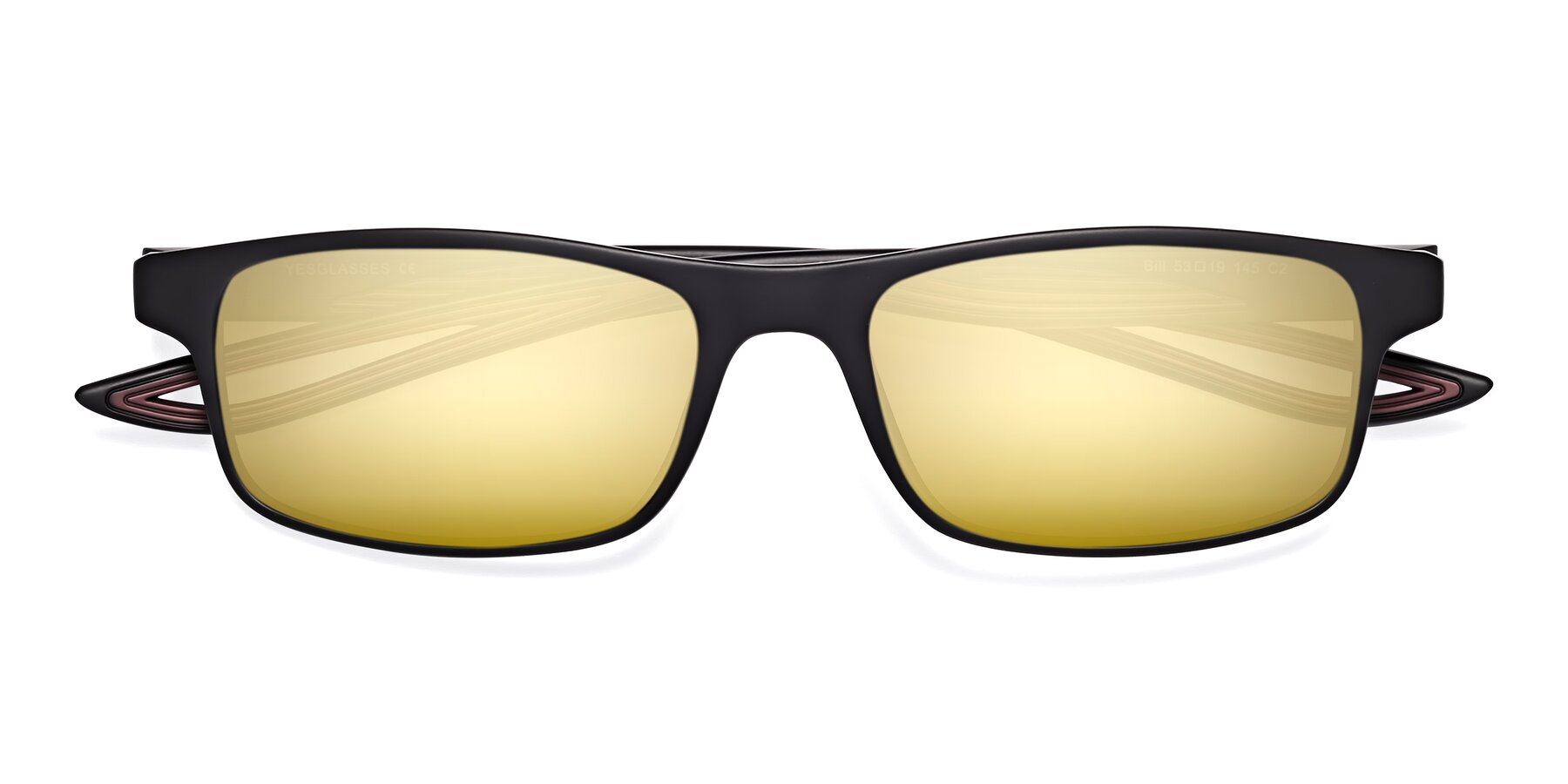 Folded Front of Bill in Matte Black-Wine with Gold Mirrored Lenses
