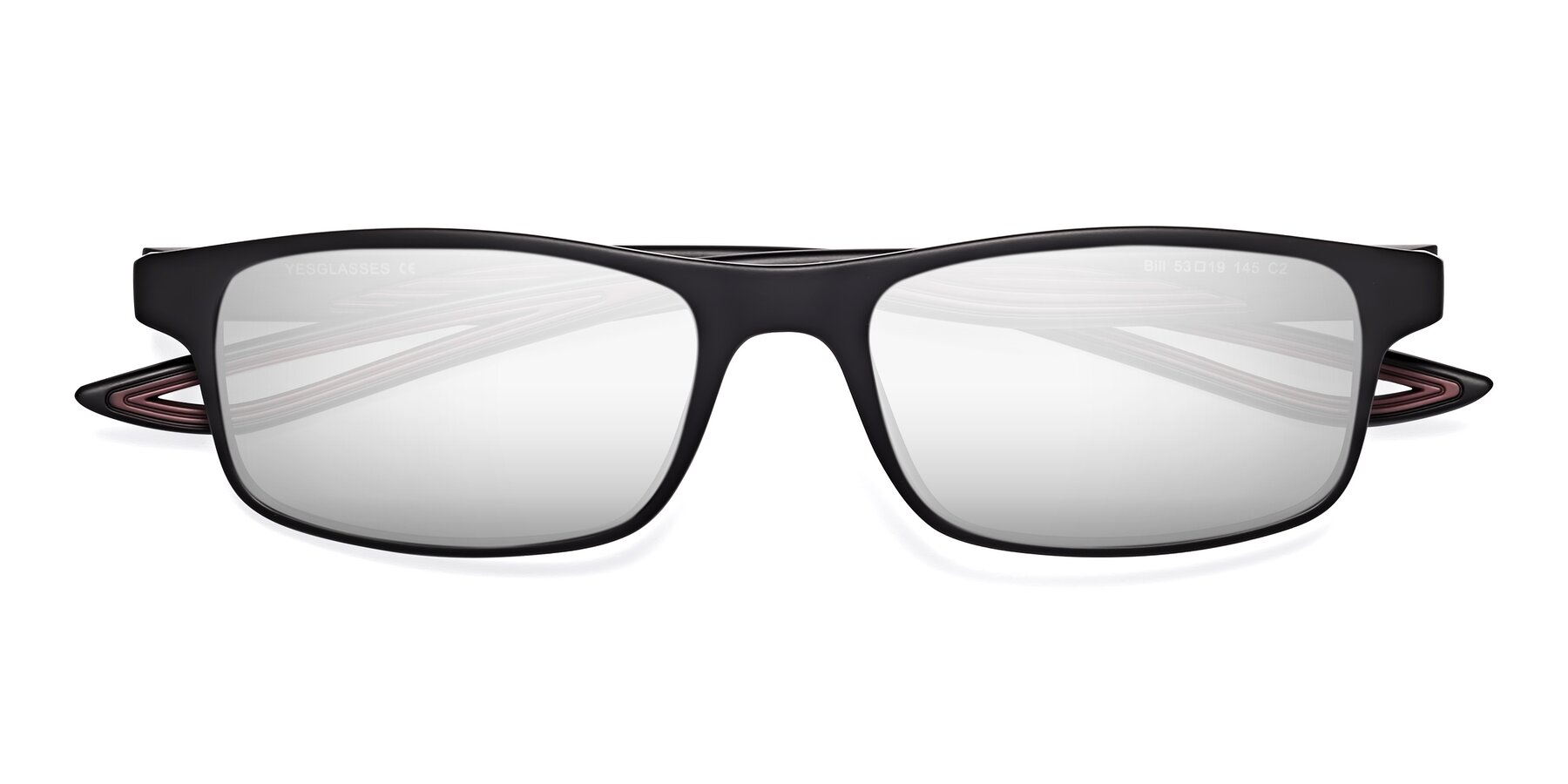 Folded Front of Bill in Matte Black-Wine with Silver Mirrored Lenses