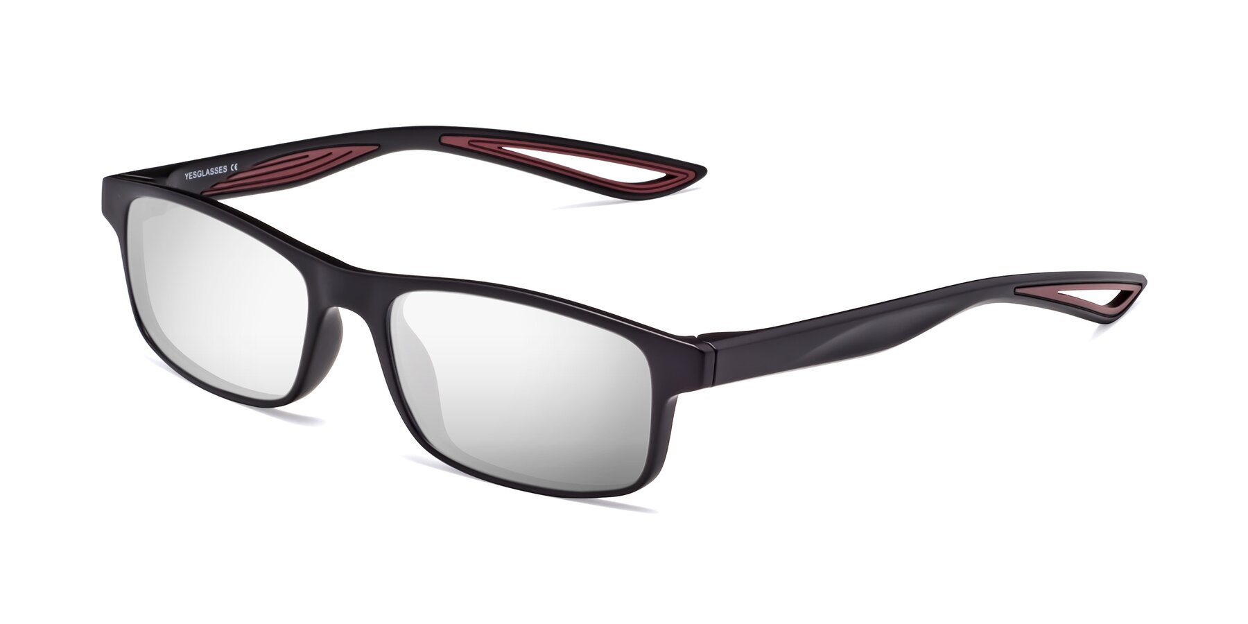 Angle of Bill in Matte Black-Wine with Silver Mirrored Lenses