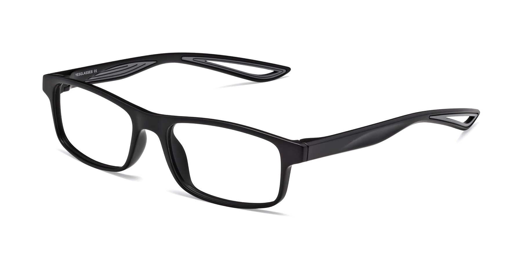 Angle of Bill in Matte Black-Gray with Clear Blue Light Blocking Lenses
