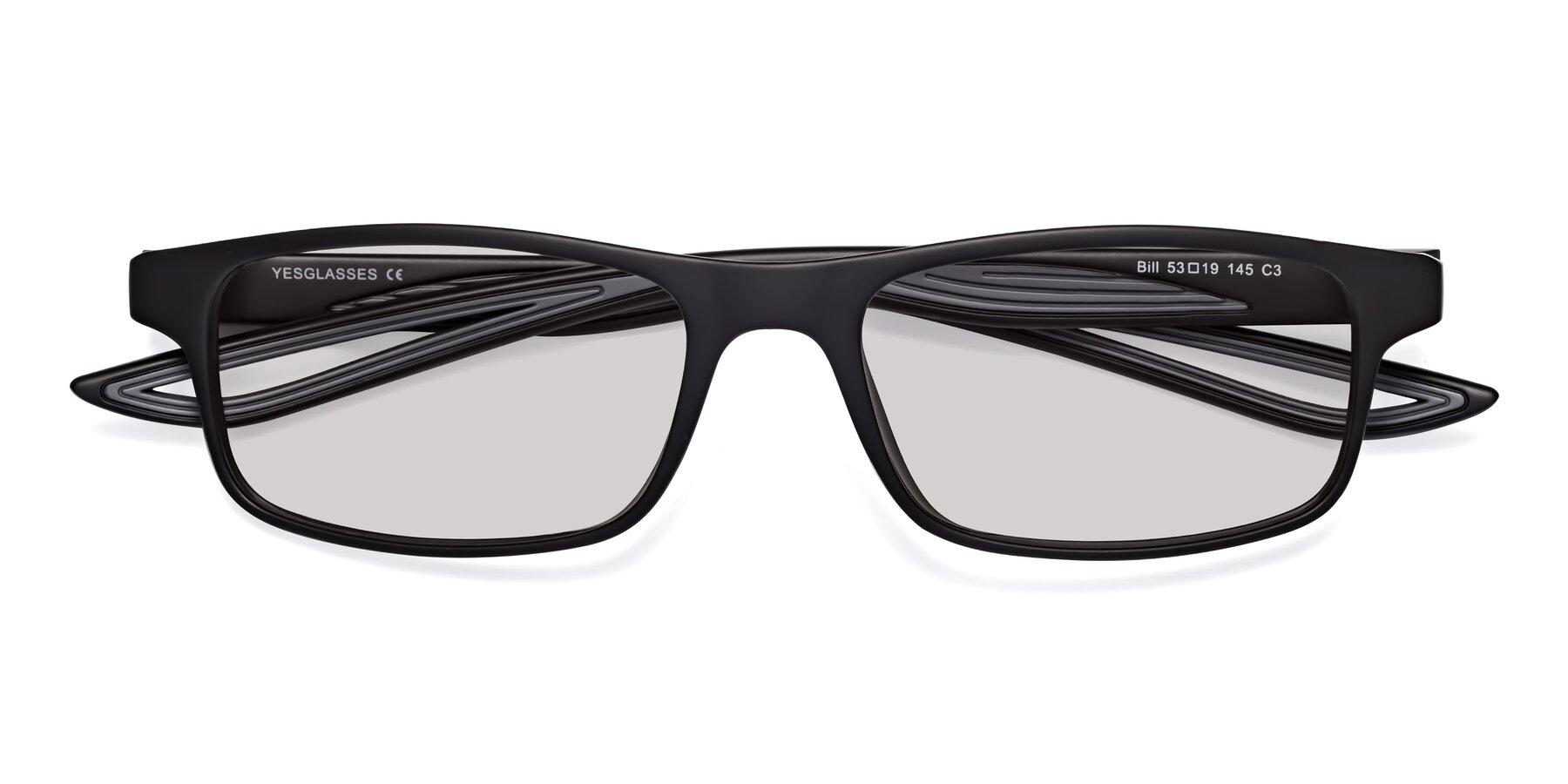 Folded Front of Bill in Matte Black-Gray with Light Gray Tinted Lenses