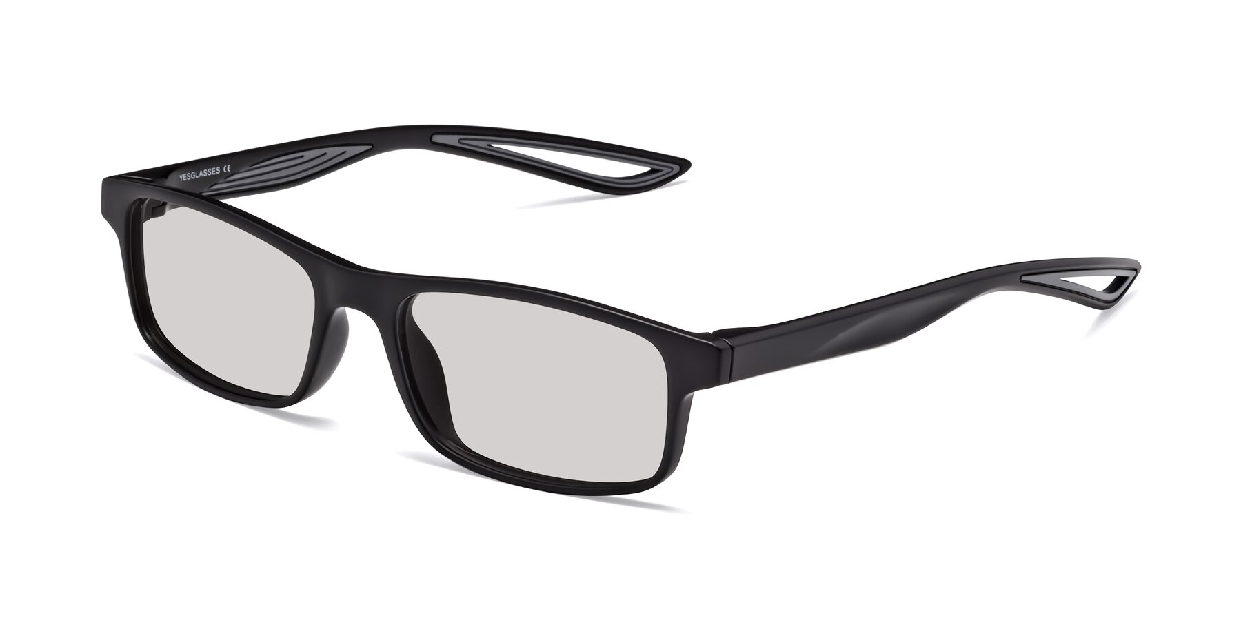 Angle of Bill in Matte Black-Gray with Light Gray Tinted Lenses