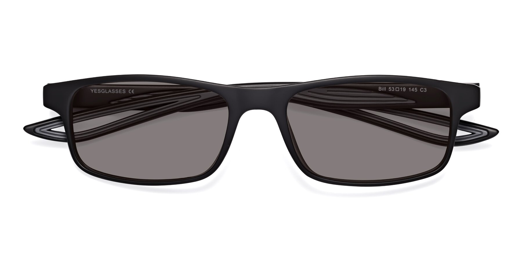 Folded Front of Bill in Matte Black-Gray with Medium Gray Tinted Lenses