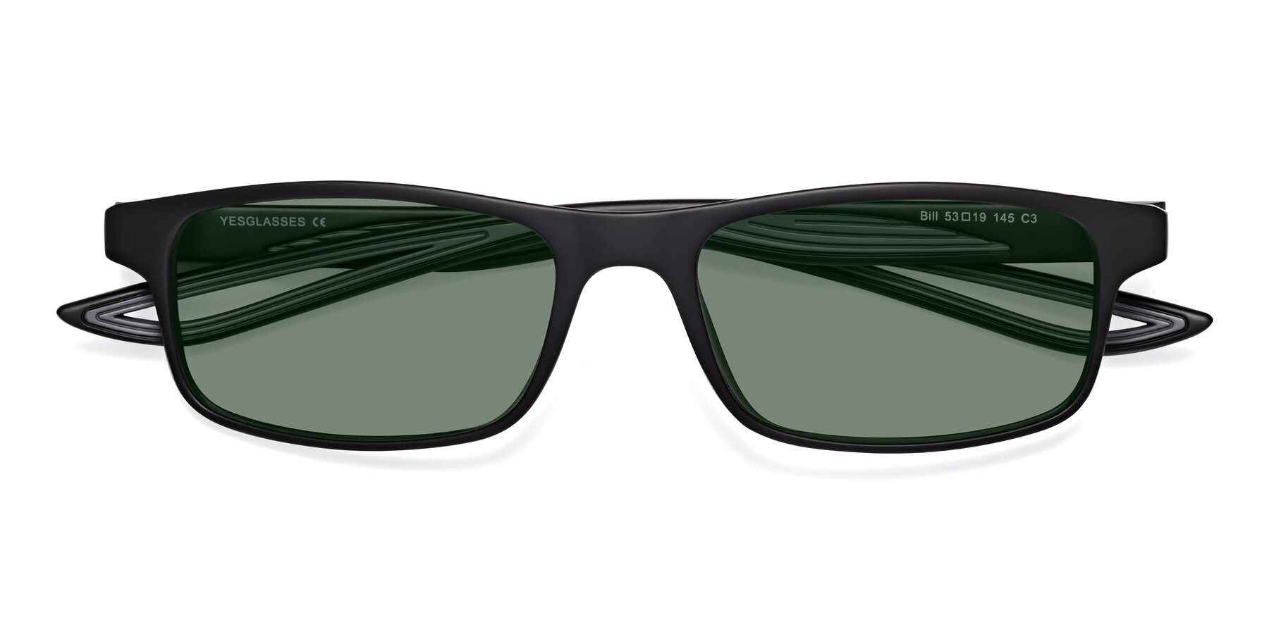 Folded Front of Bill in Matte Black-Gray with Medium Green Tinted Lenses