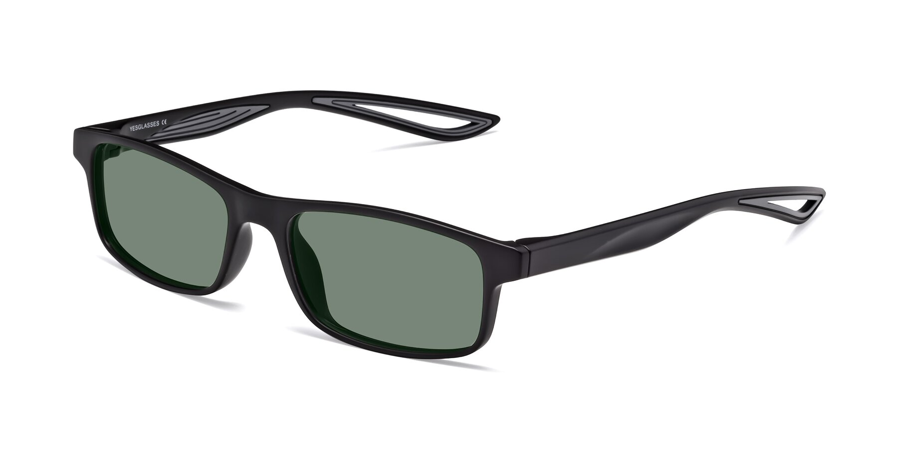 Angle of Bill in Matte Black-Gray with Medium Green Tinted Lenses