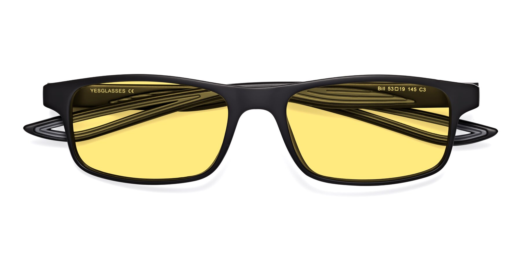 Folded Front of Bill in Matte Black-Gray with Medium Yellow Tinted Lenses