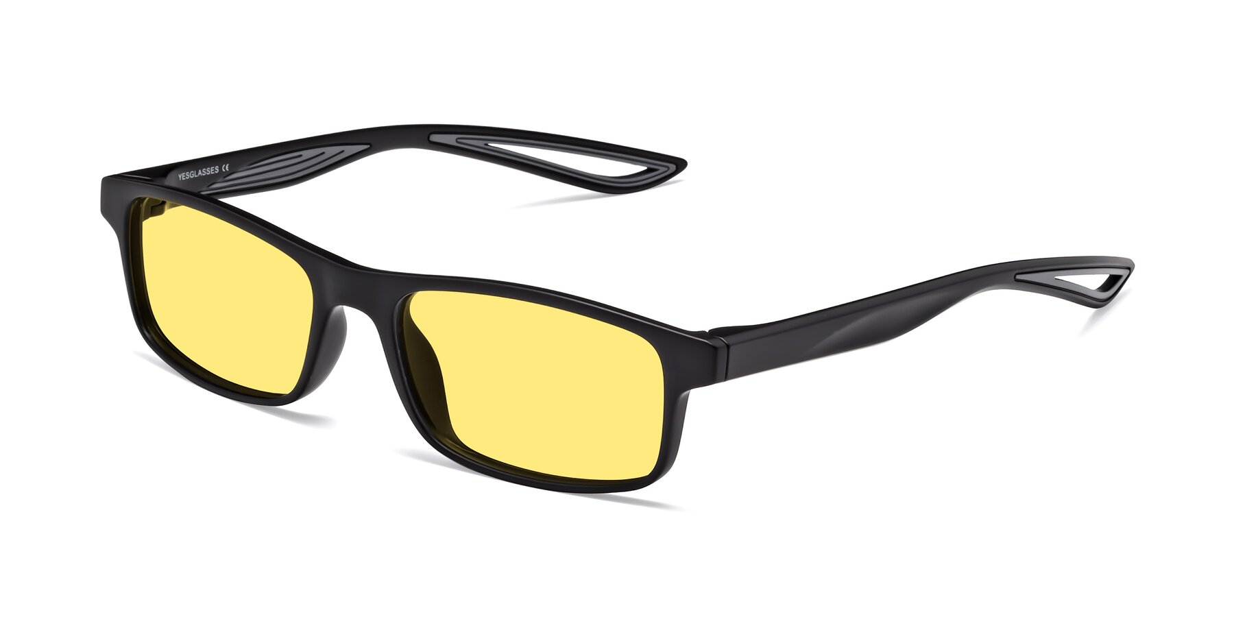 Angle of Bill in Matte Black-Gray with Medium Yellow Tinted Lenses