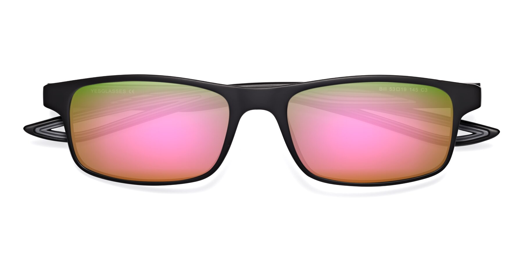 Folded Front of Bill in Matte Black-Gray with Pink Mirrored Lenses