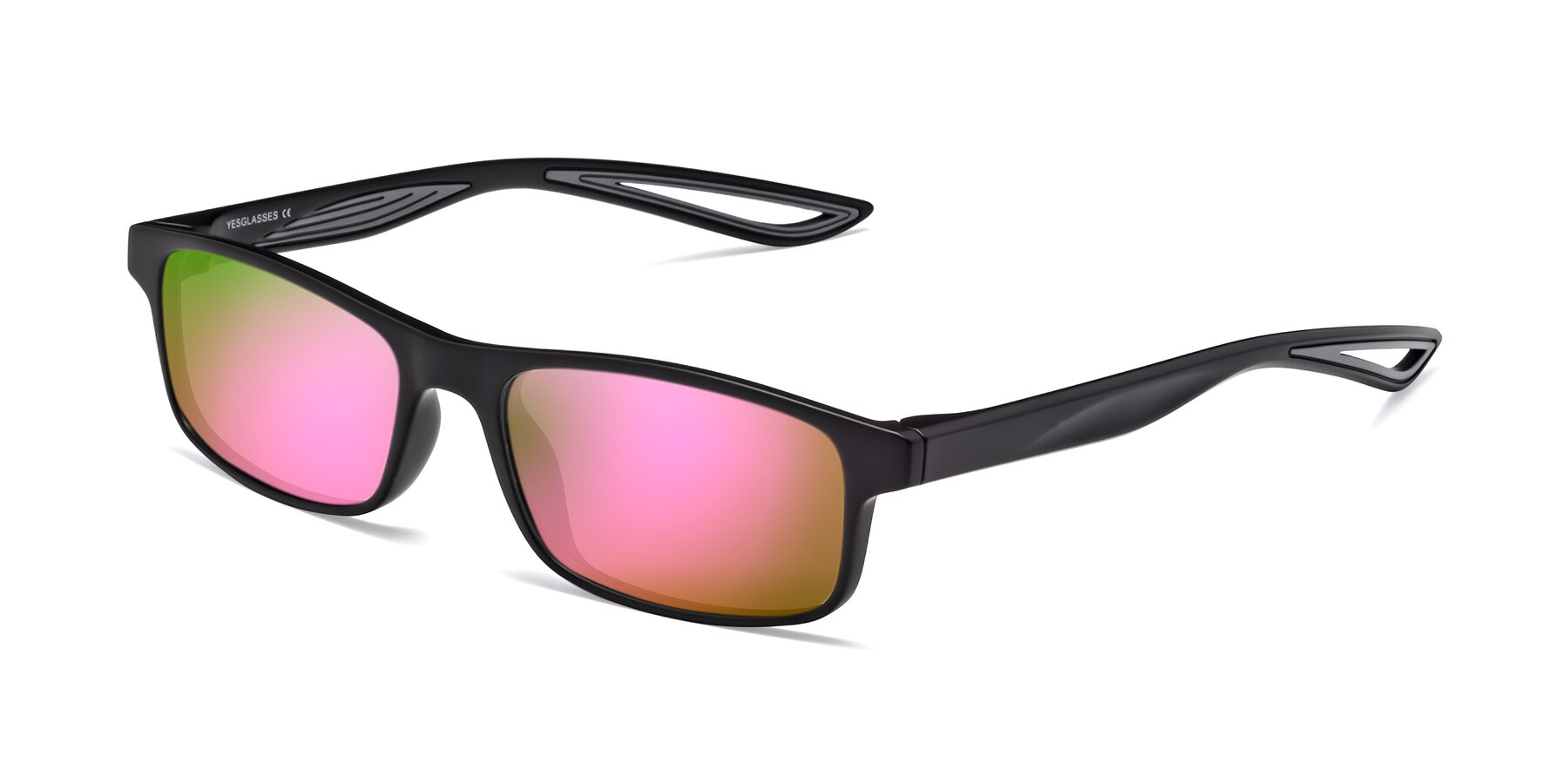 Angle of Bill in Matte Black-Gray with Pink Mirrored Lenses