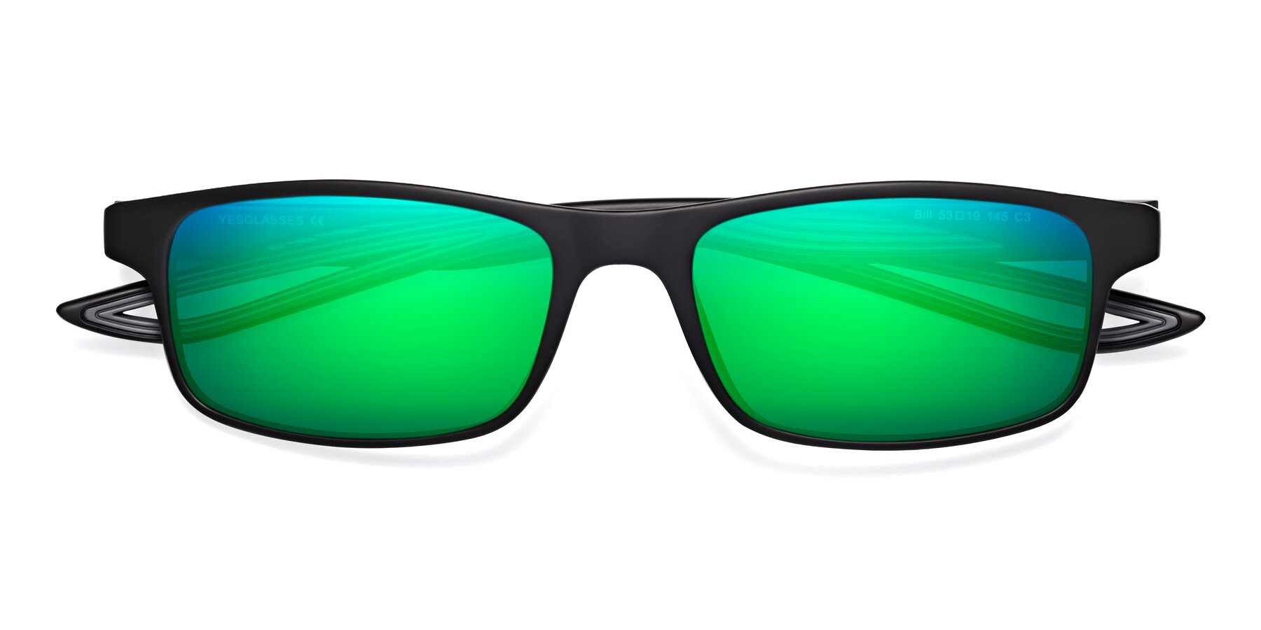 Folded Front of Bill in Matte Black-Gray with Green Mirrored Lenses