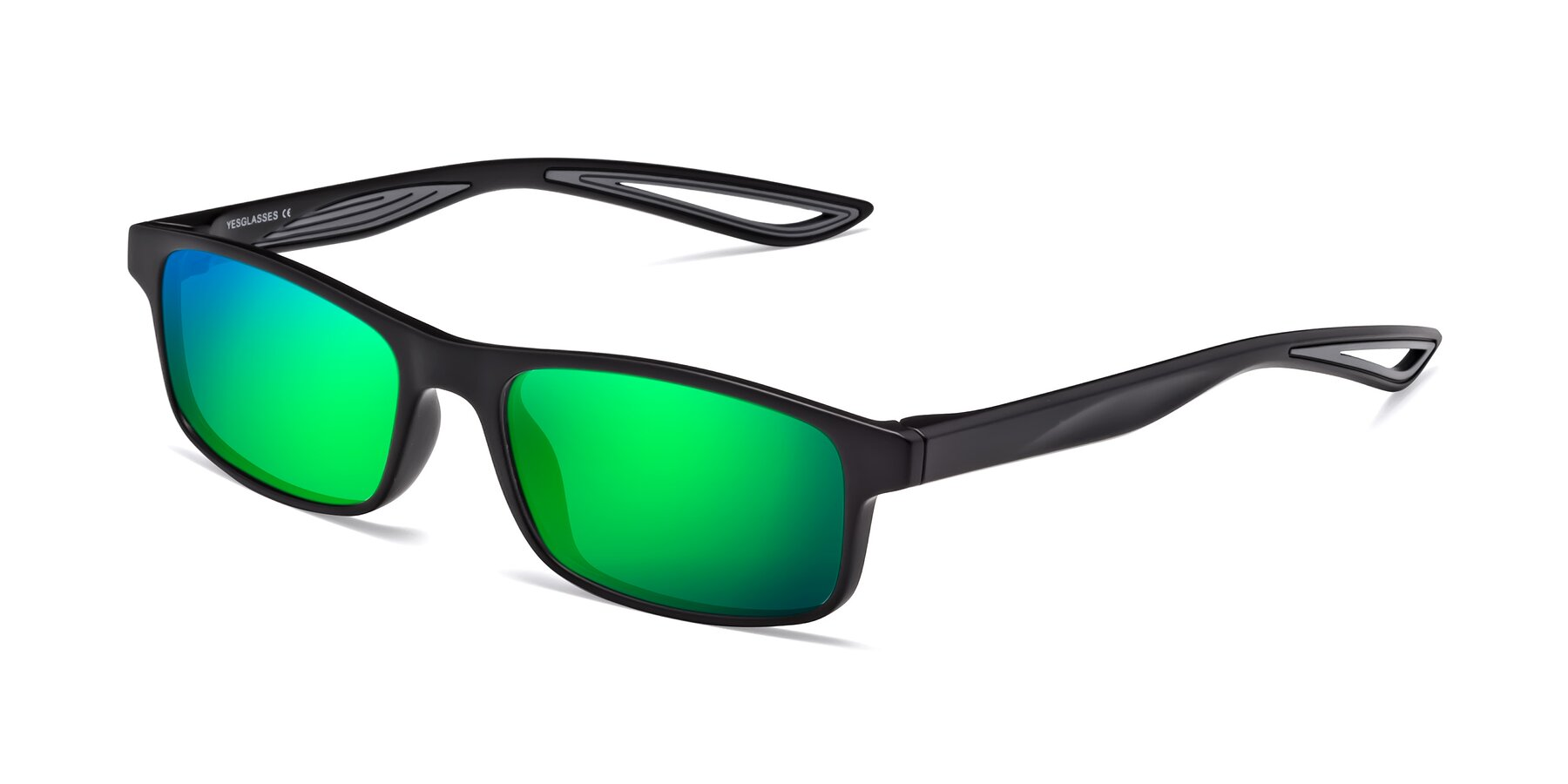 Angle of Bill in Matte Black-Gray with Green Mirrored Lenses