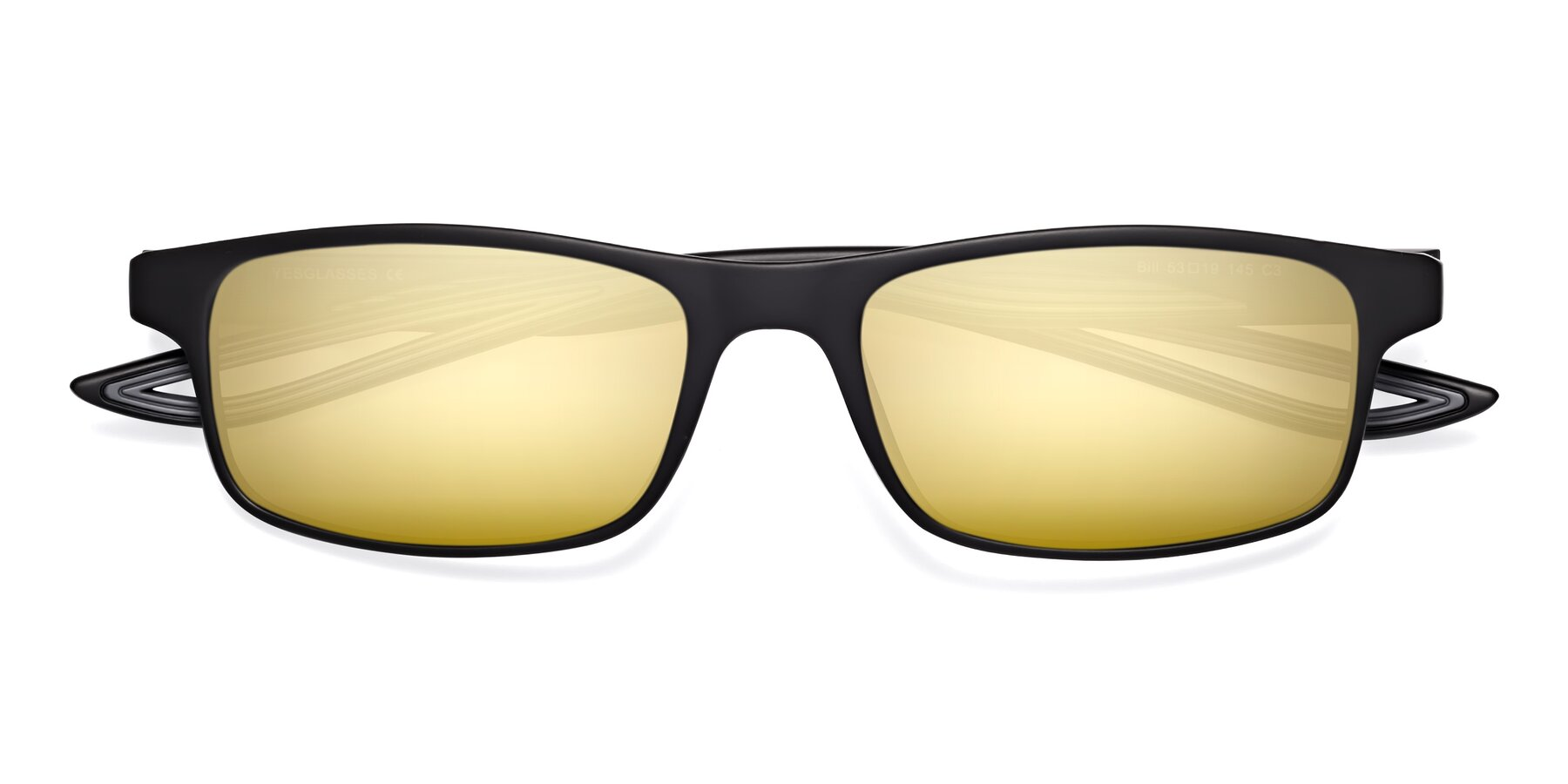 Folded Front of Bill in Matte Black-Gray with Gold Mirrored Lenses